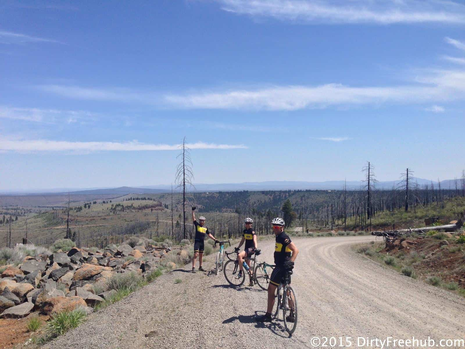 Gravel grinder descent on Prairie Farm Road to Lake Billy Chinook, Oregon