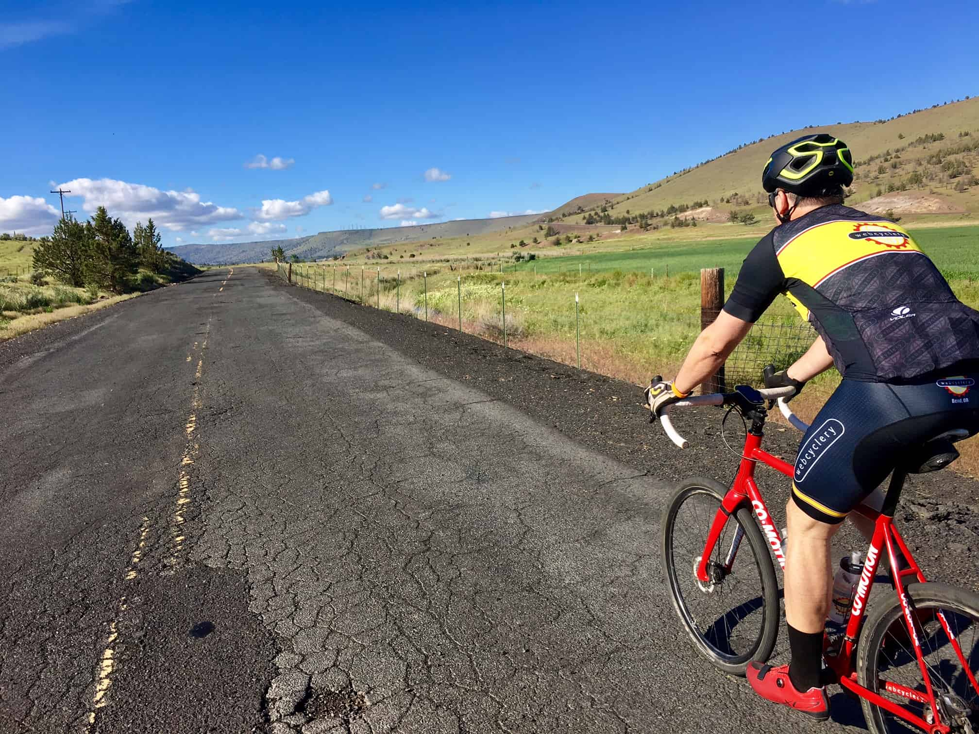 Cyclist on old Highway 97 north of Madras.