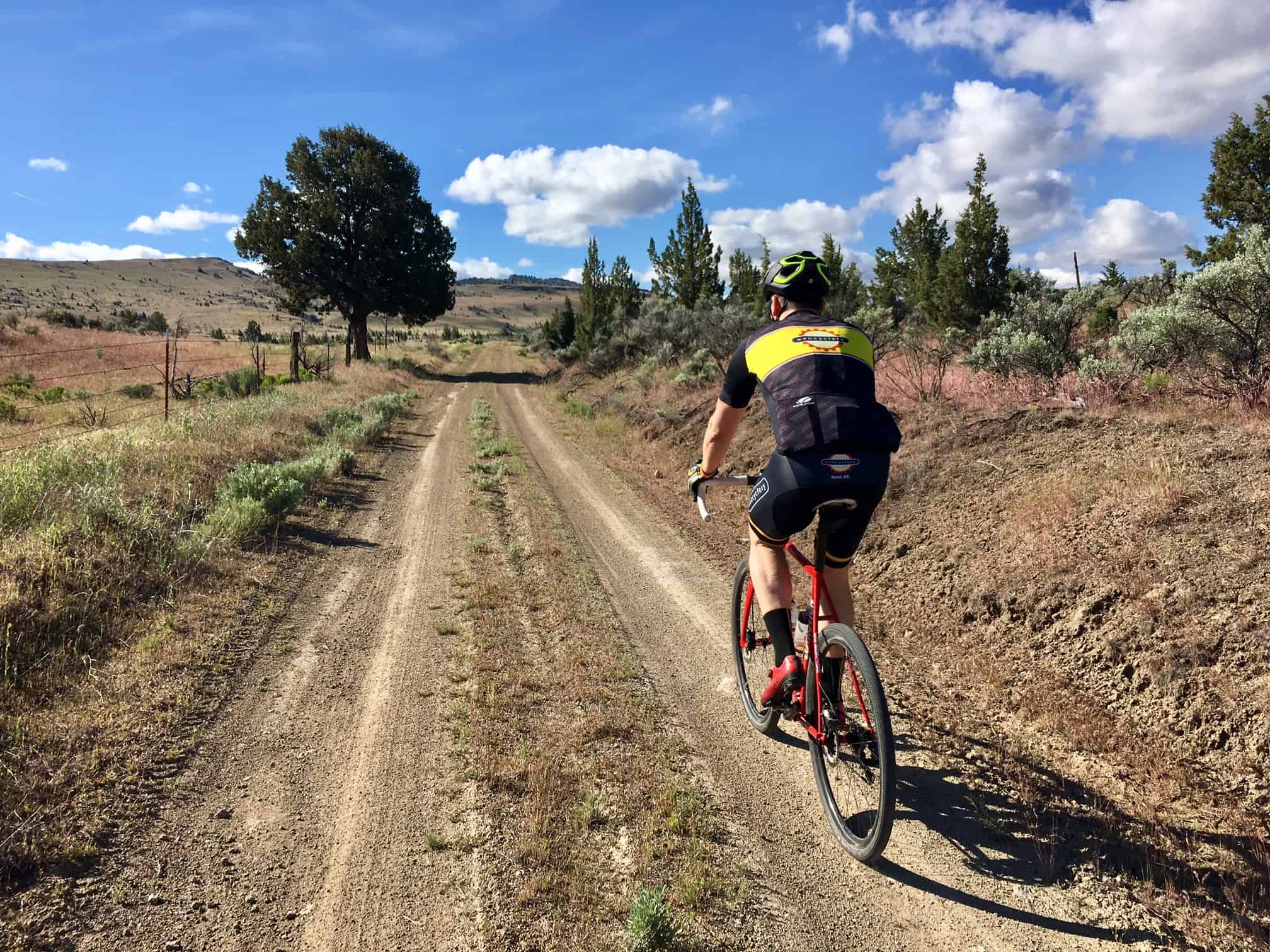 Gravel cyclist on Hay Creek road east of Madras, OR.