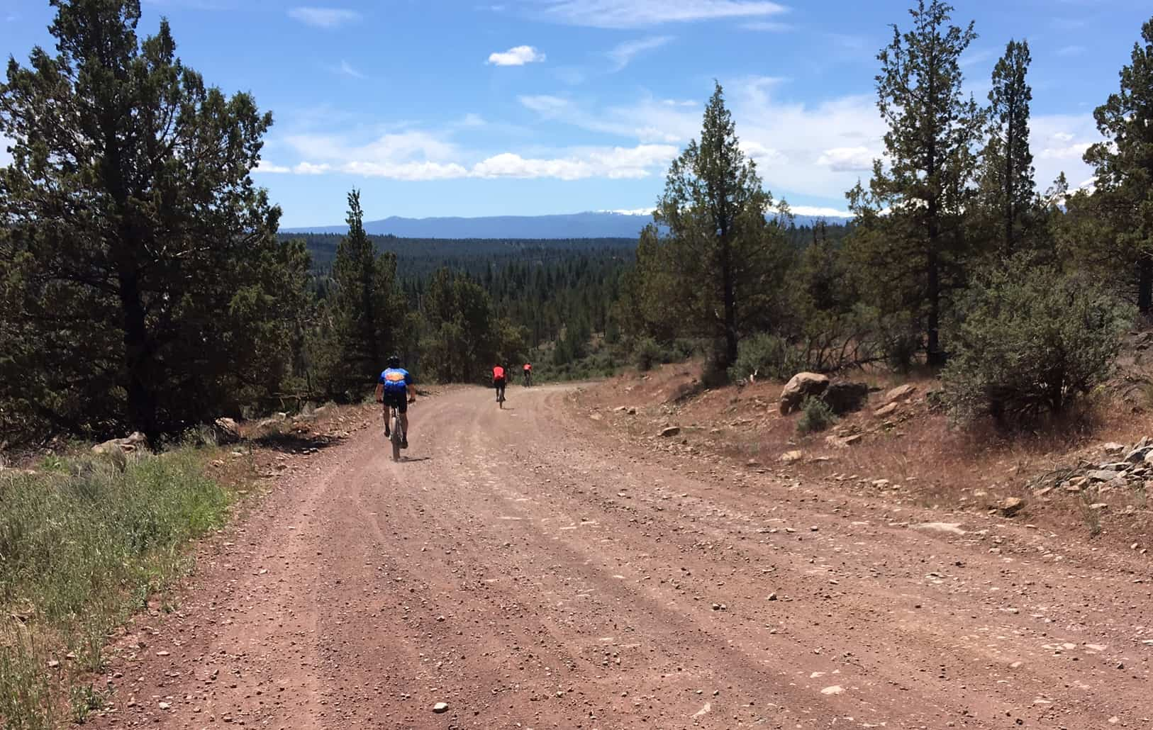 Good quality gravel grinding on forest road 1393 by Sisters, Oregon