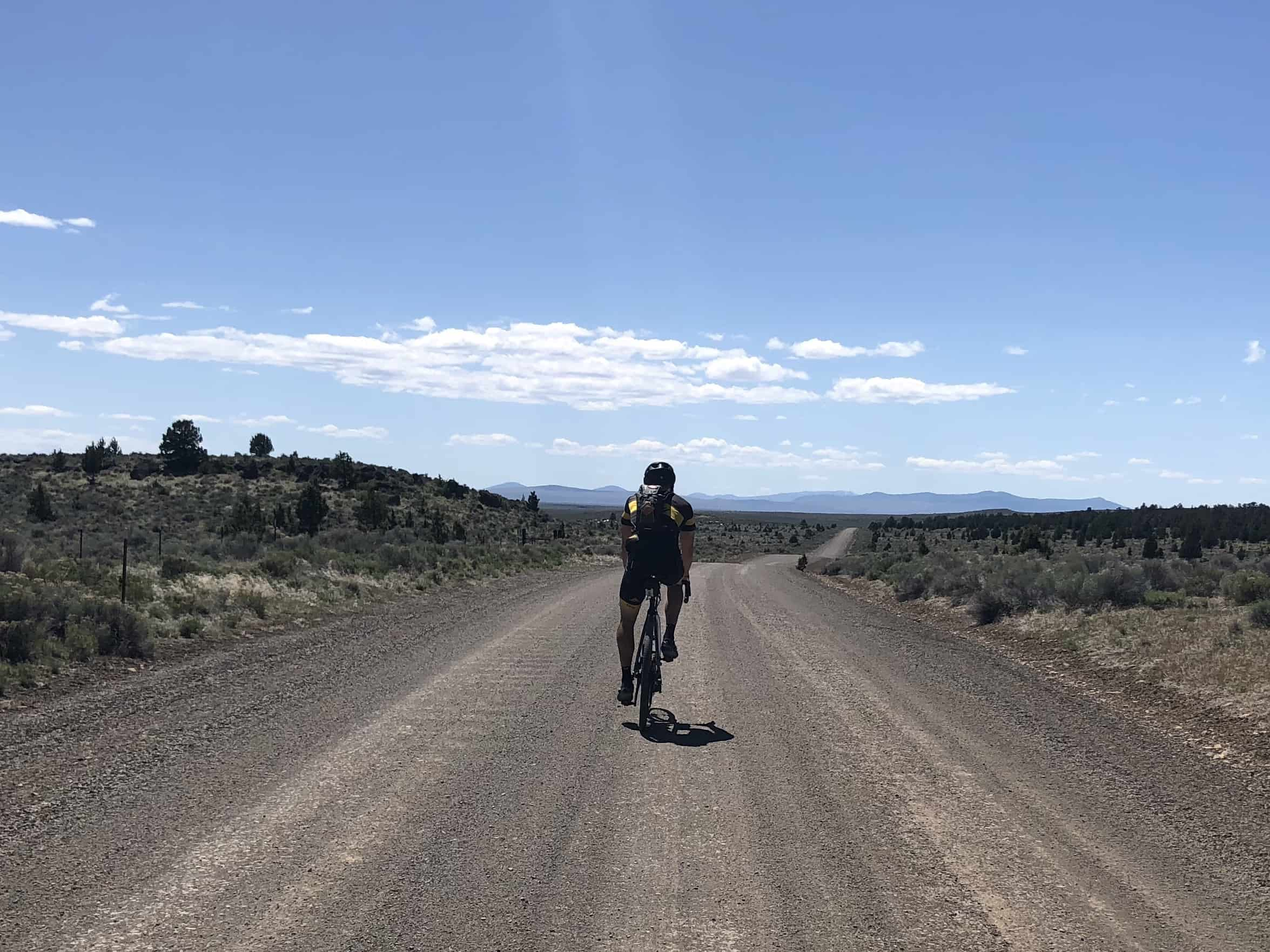 Riding the gravel road back in towards Brothers, Oregon.