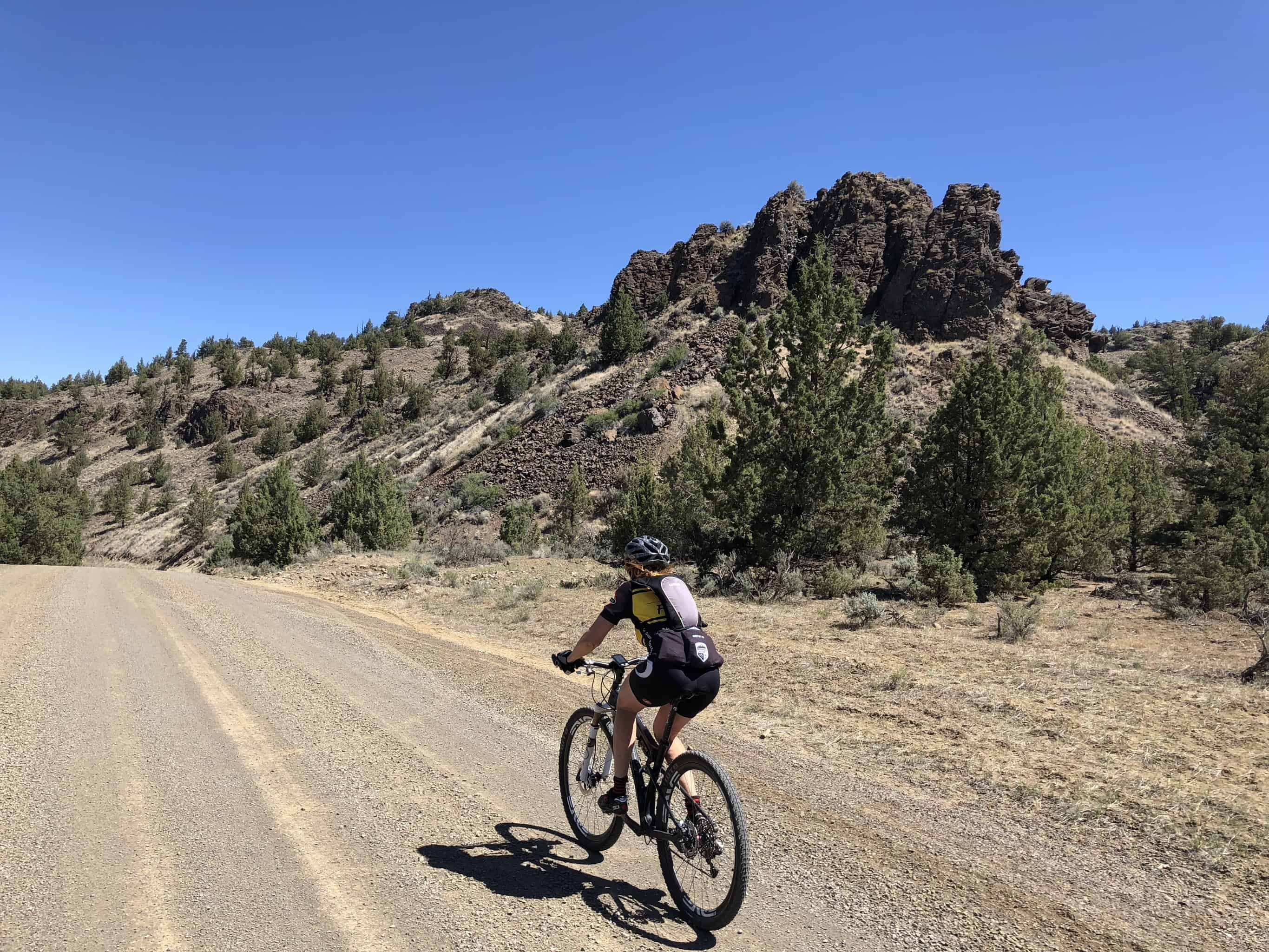 A rocky butte along the only gravel highway in Oregon, Highway 27.