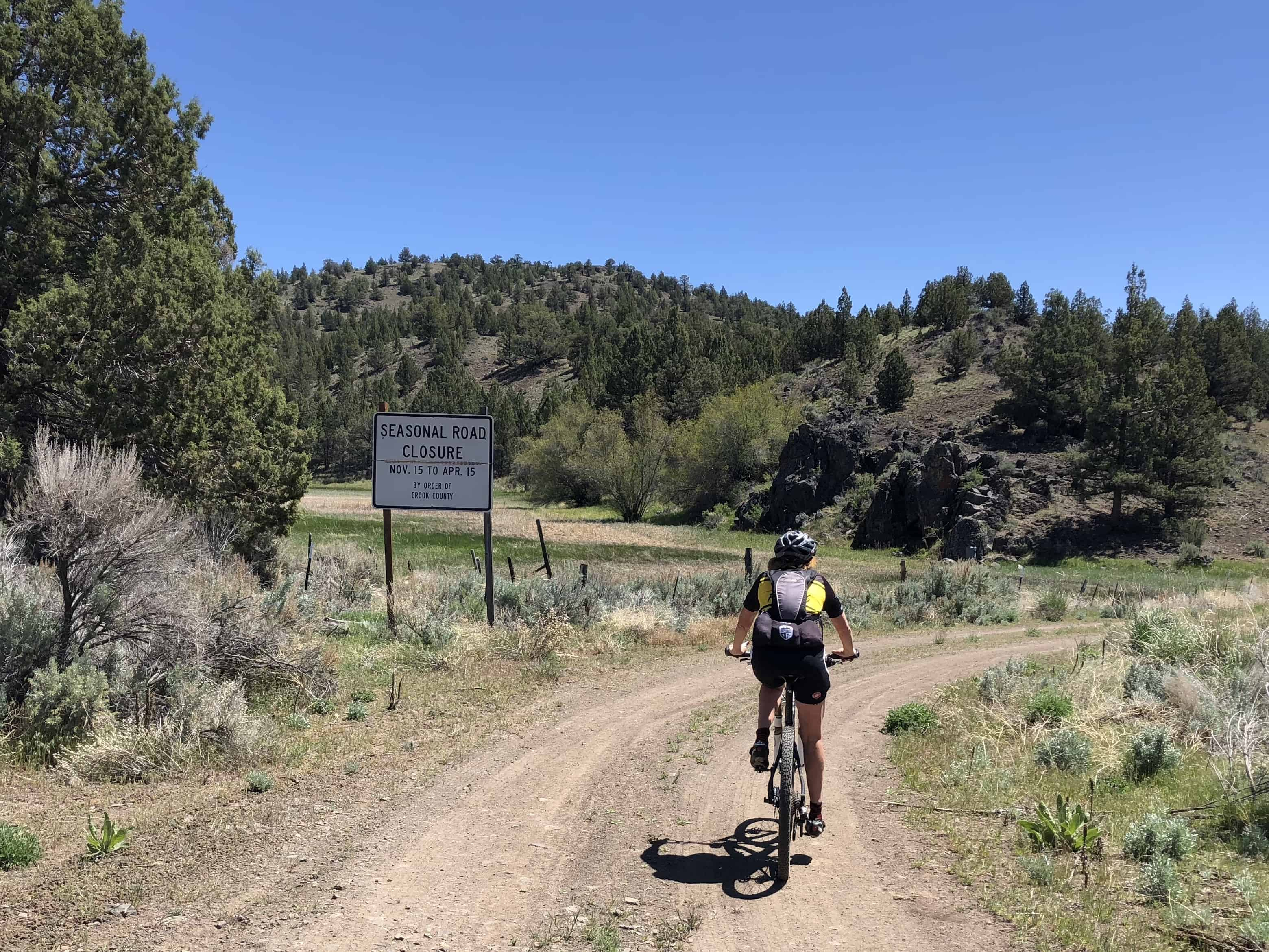 Gravel Girl on the small section of Roberts Road between Brothers and Prineville, Oregon.