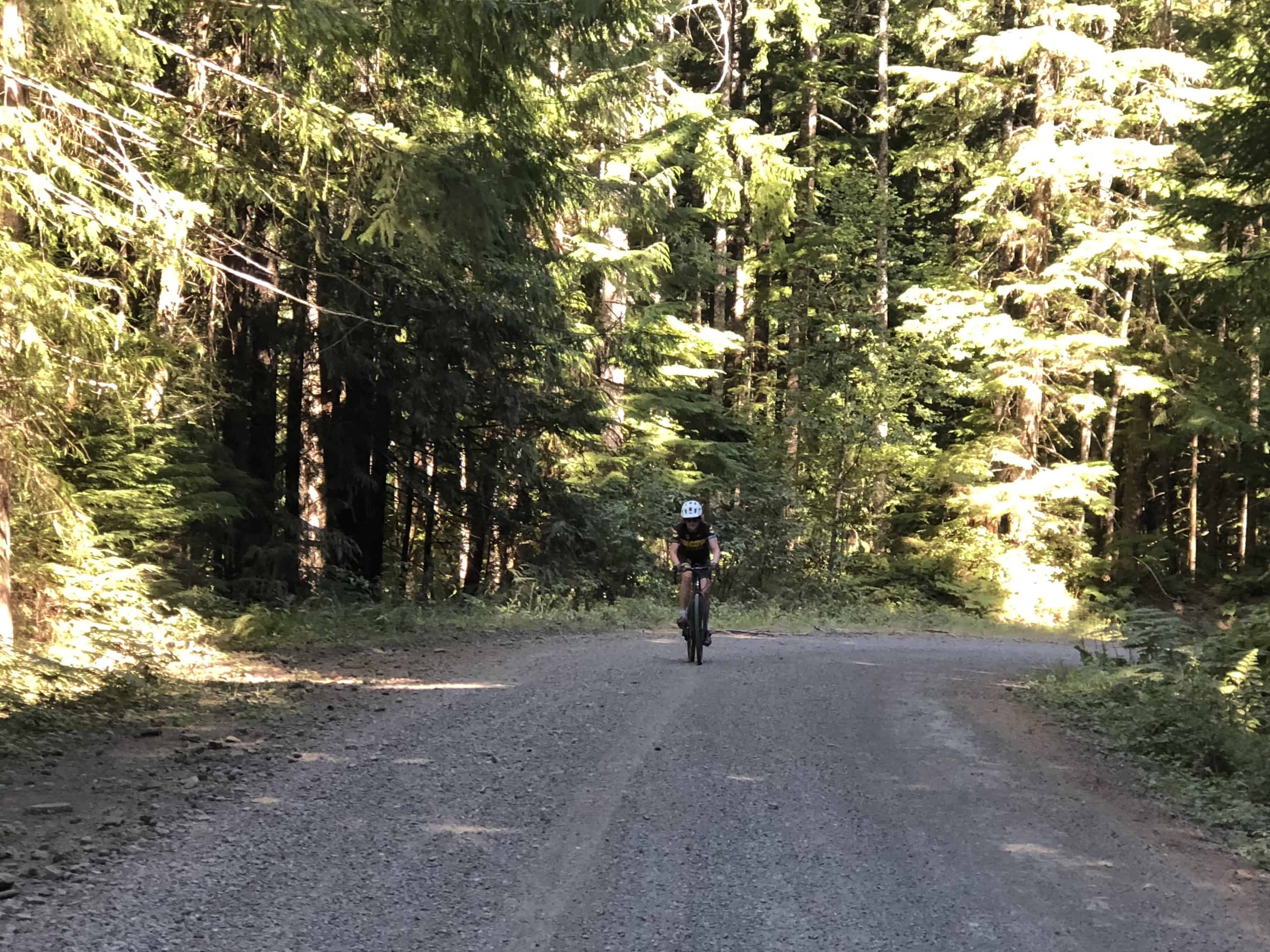 Cyclist on gravel Forest Road 060 by Detroit Lake