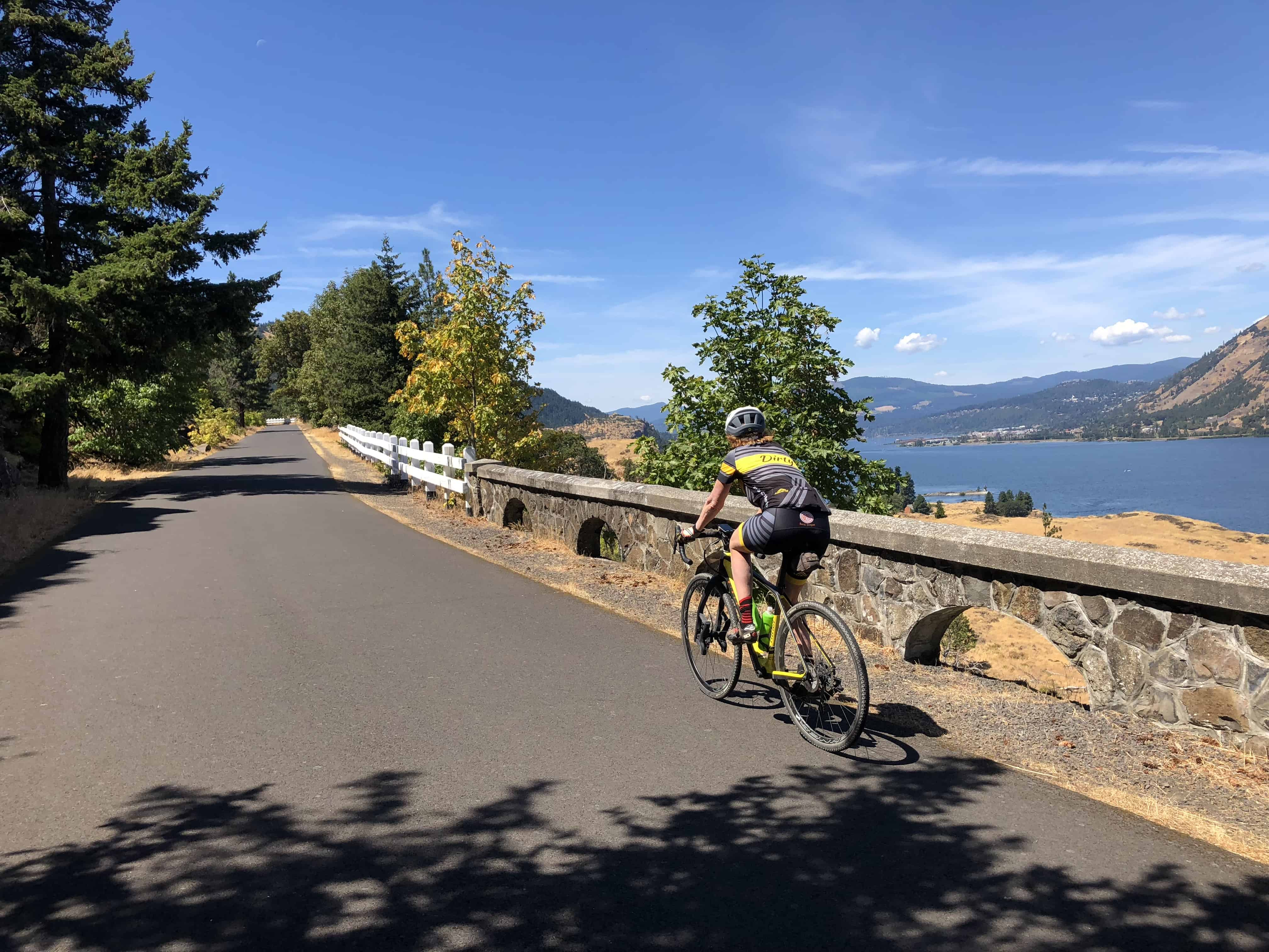 Cyclist on Historic Columbia River Hwy State Trail