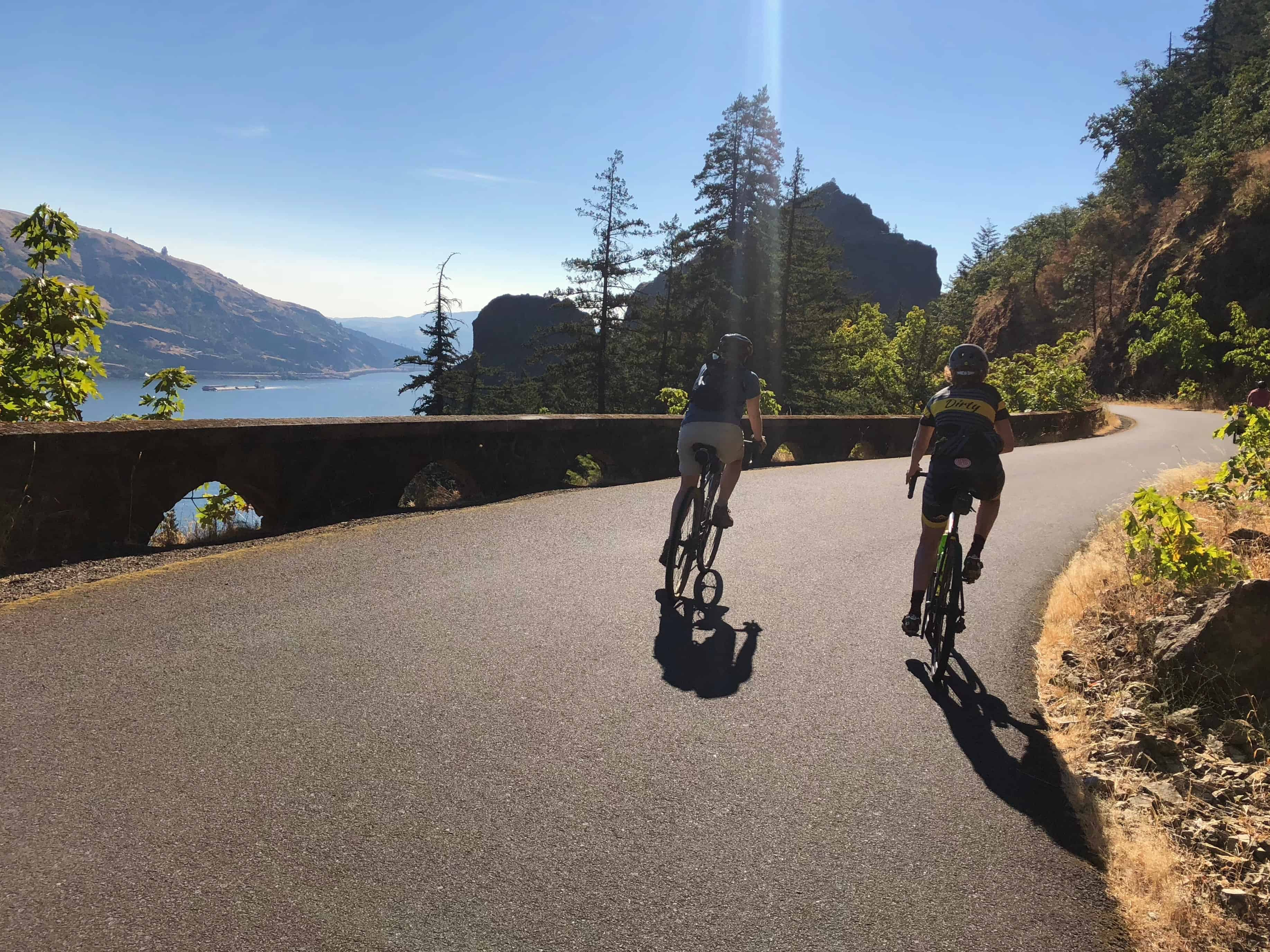 Two cyclists on Historic Columbia River Hwy