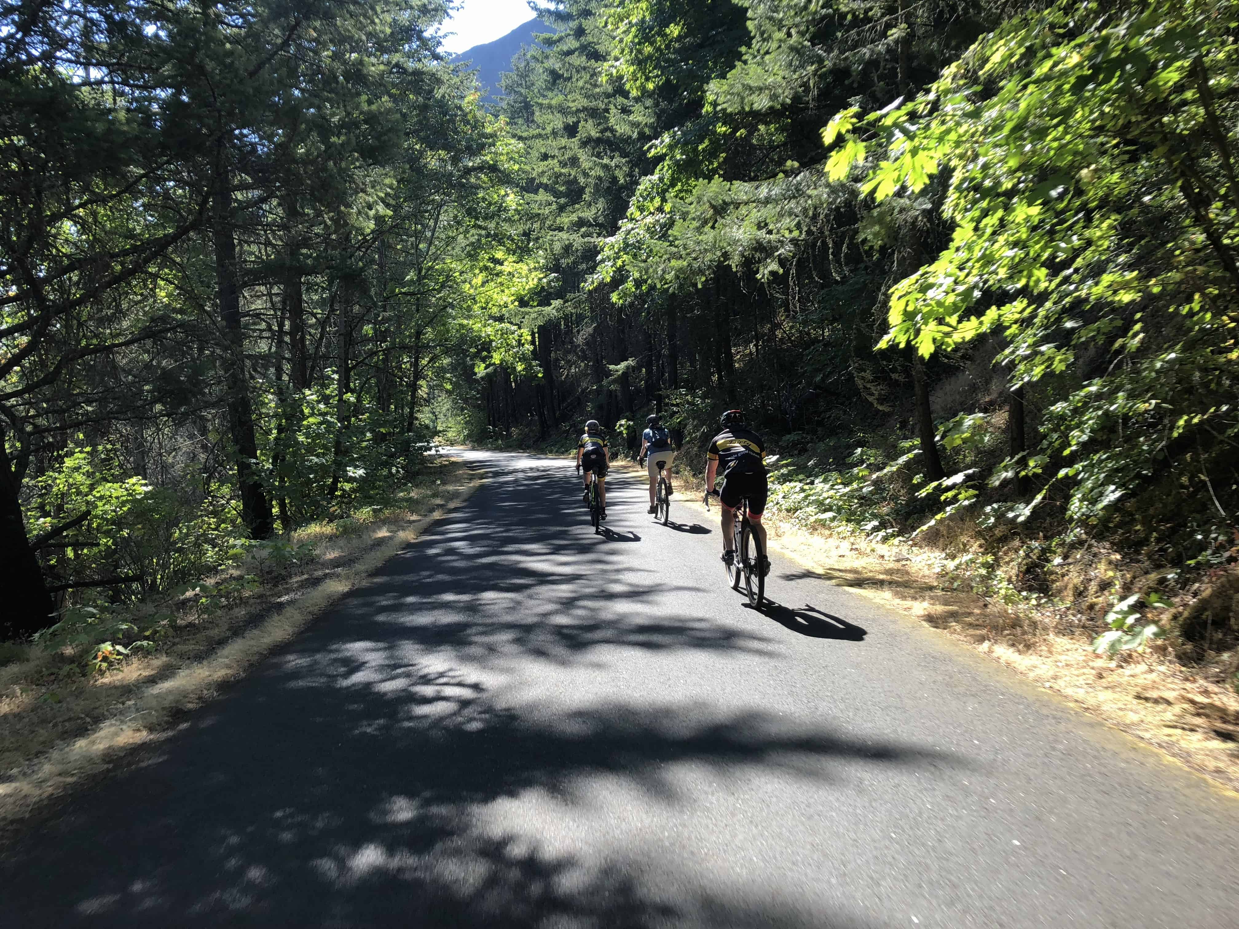 Group of cyclists on on Historic Columbia River Hwy