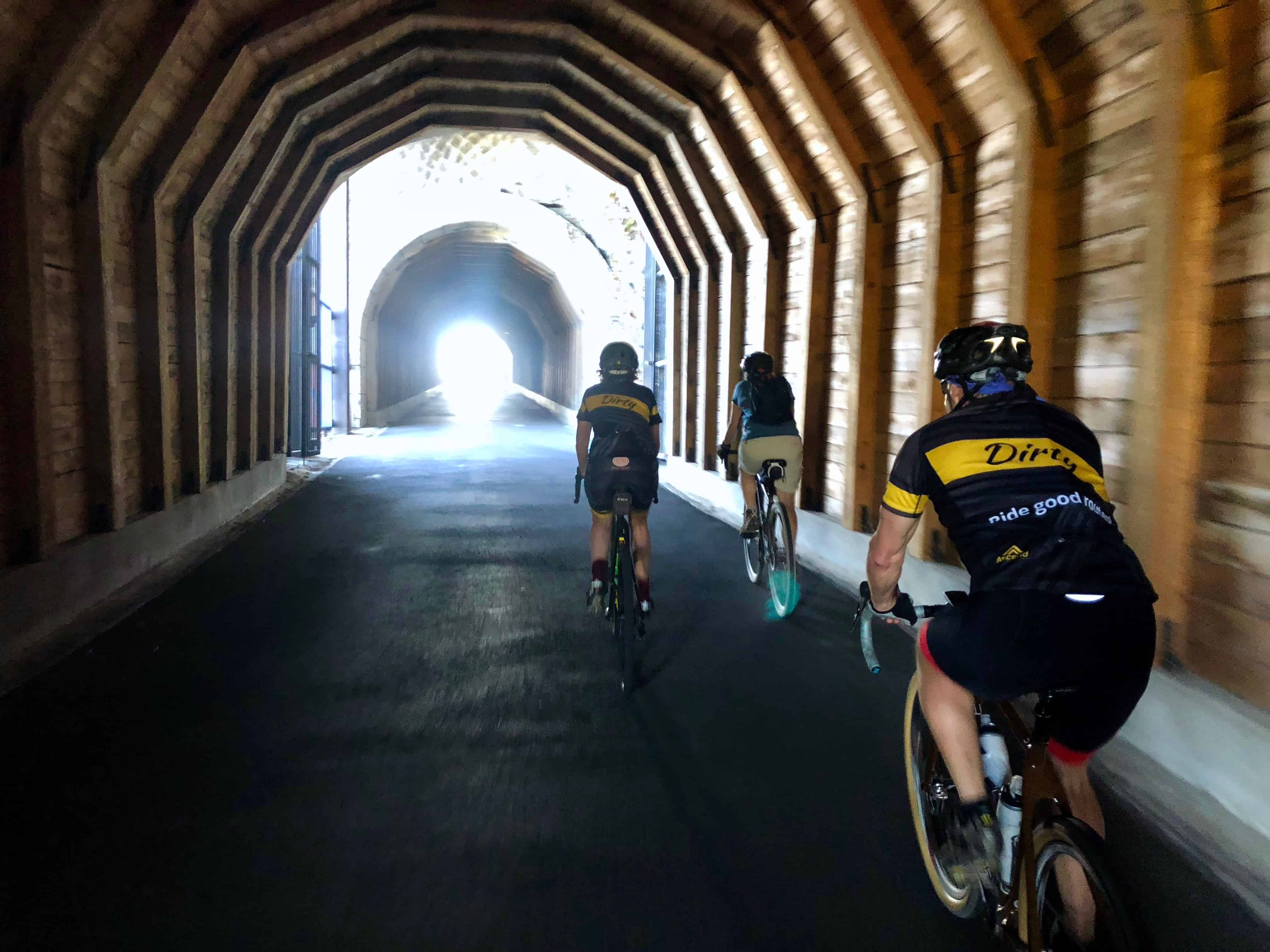 Group of cyclists in The Mosier Twin Tunnels