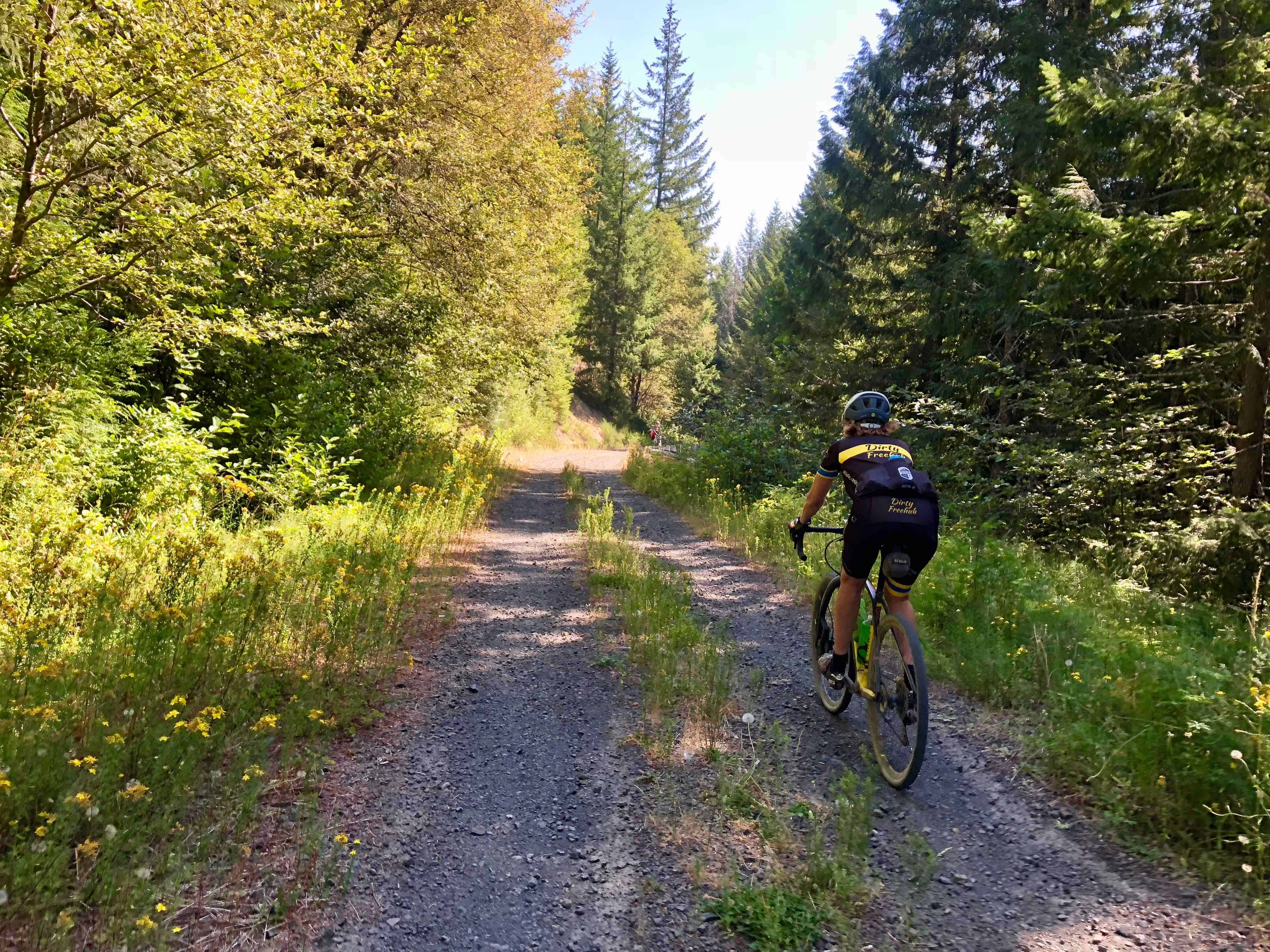 Going down gravel on Forest Road 1012, Willamette National Forest