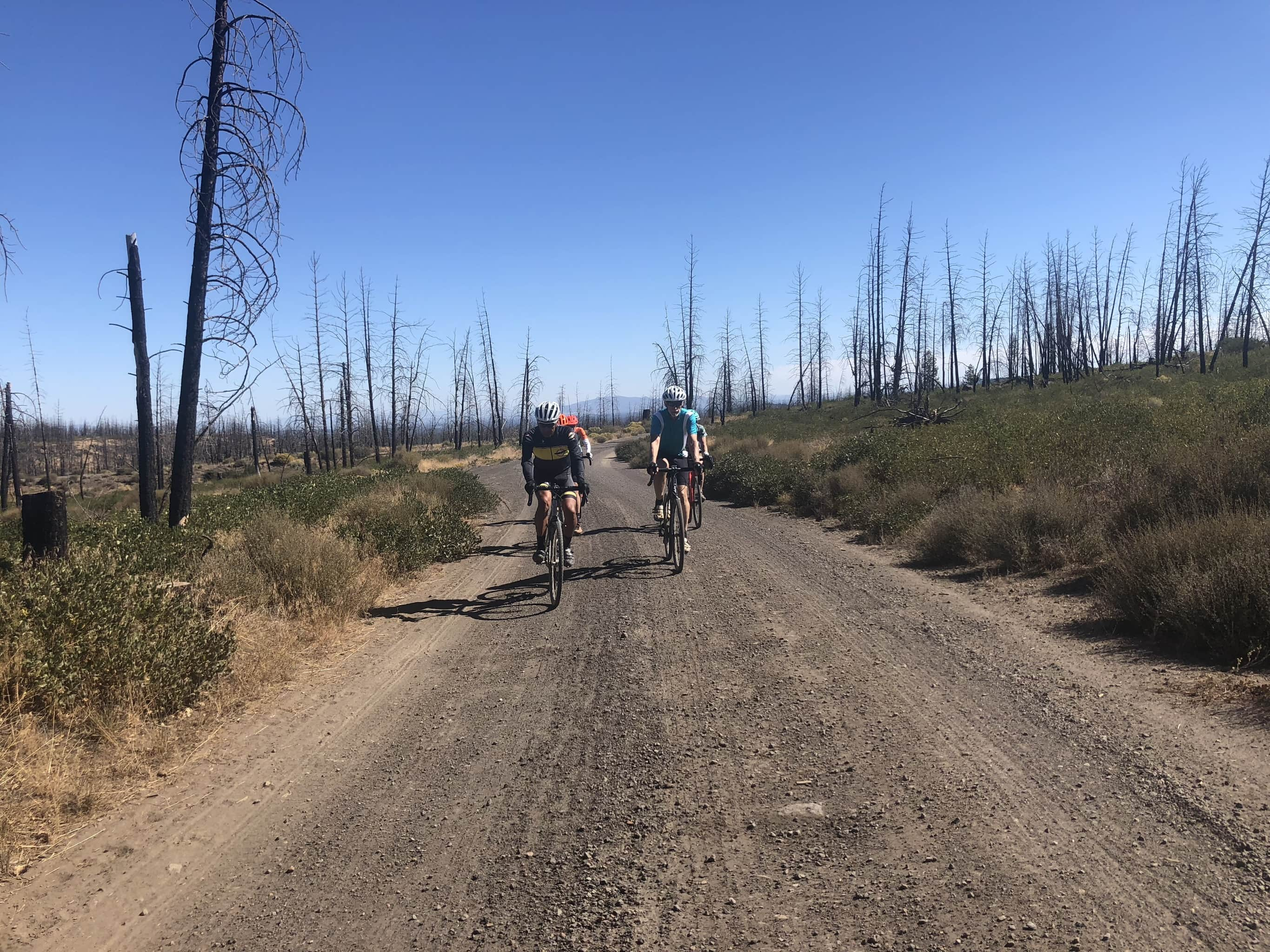 Group of cyclist on gravel road near Bend, OR.