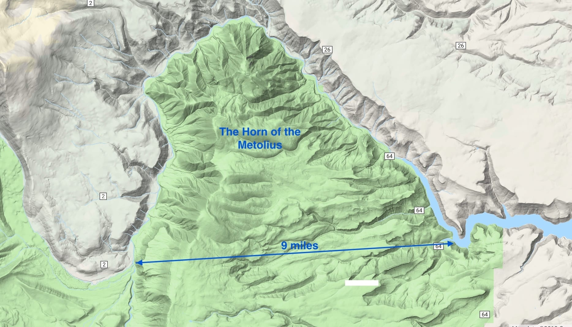 Picture of map of the Horn of the Metolius.