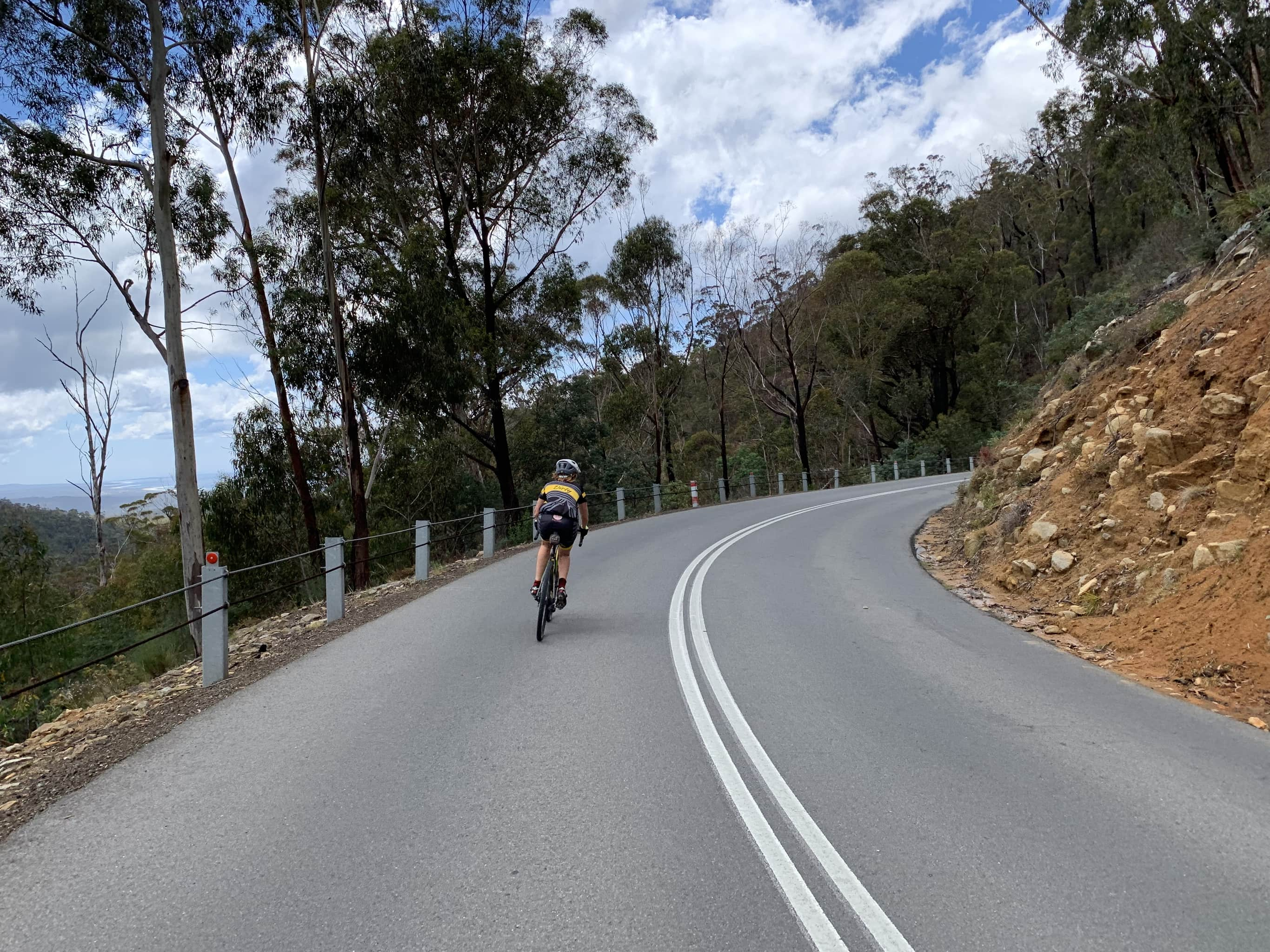 Bike rider near the bottom of St. Marys pass on paved road with views of the ocean to the left.