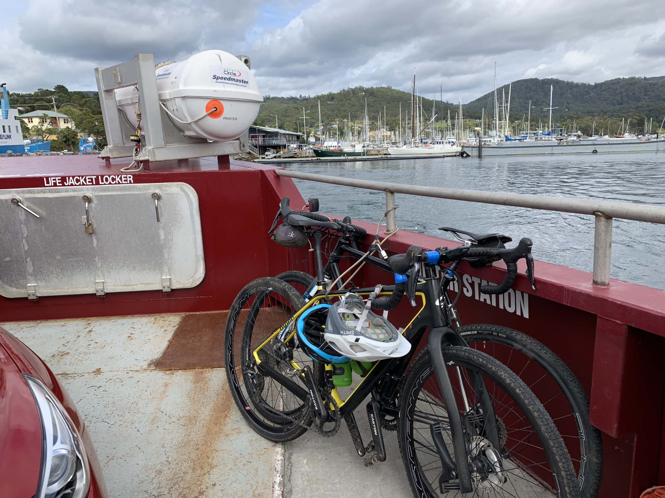 Two bikes on ferry crossing over to Bruny Island.