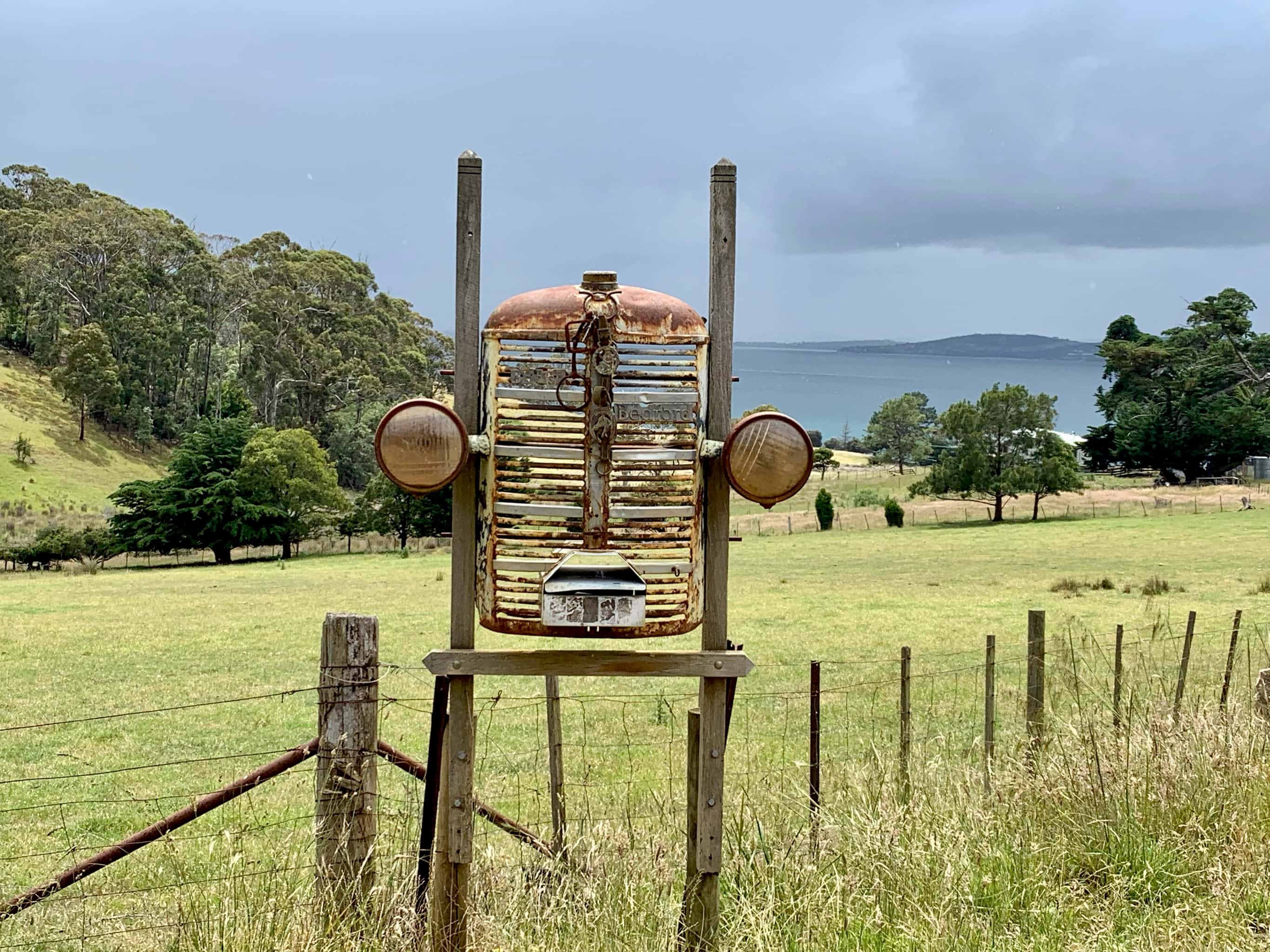 Unique mailbox made of car parts on North Bruny Island.