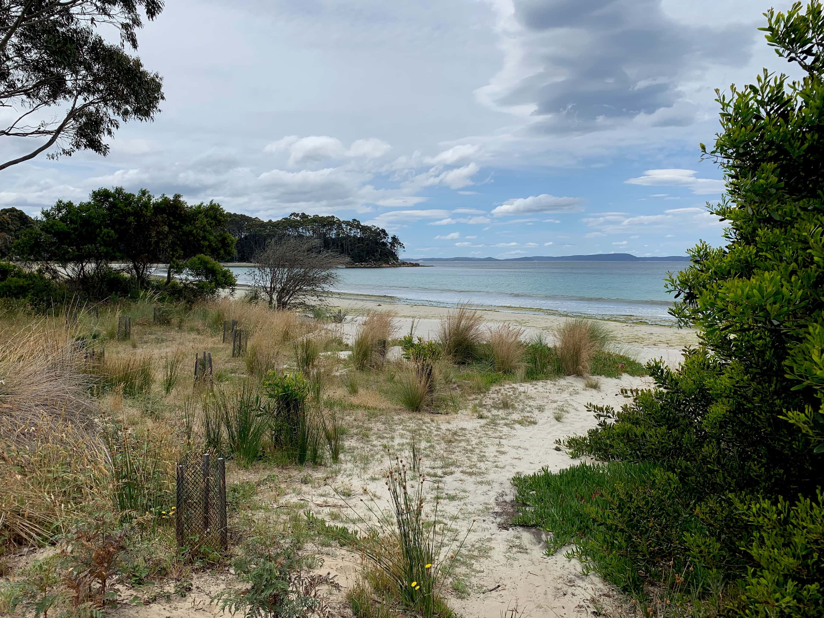 View of Adventure Bay across beach on South Bruny Island.