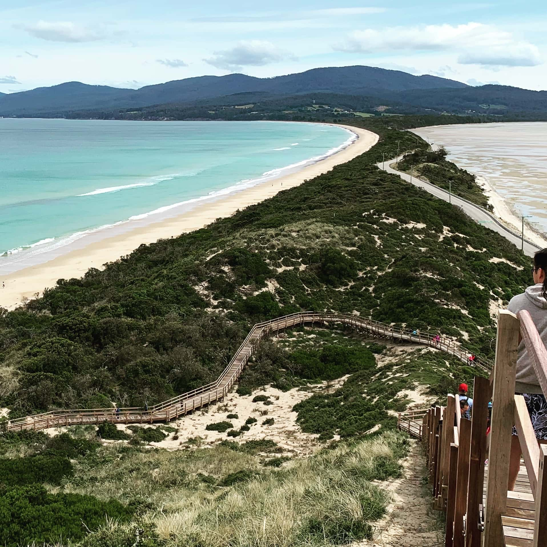 View from Bruny Island Neck lookout, looking south.