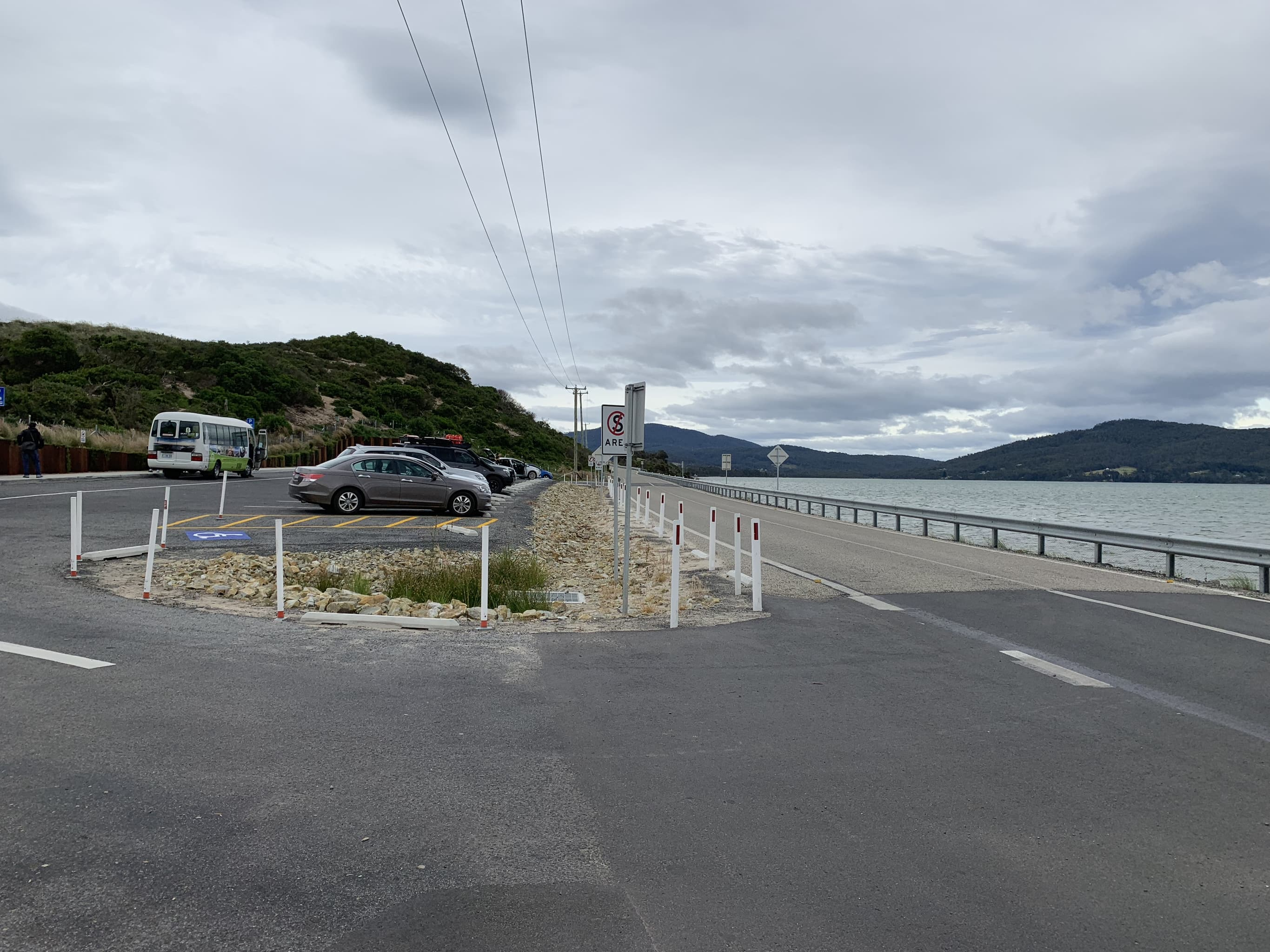 Parking lot at Bruny Island Neck lookout.