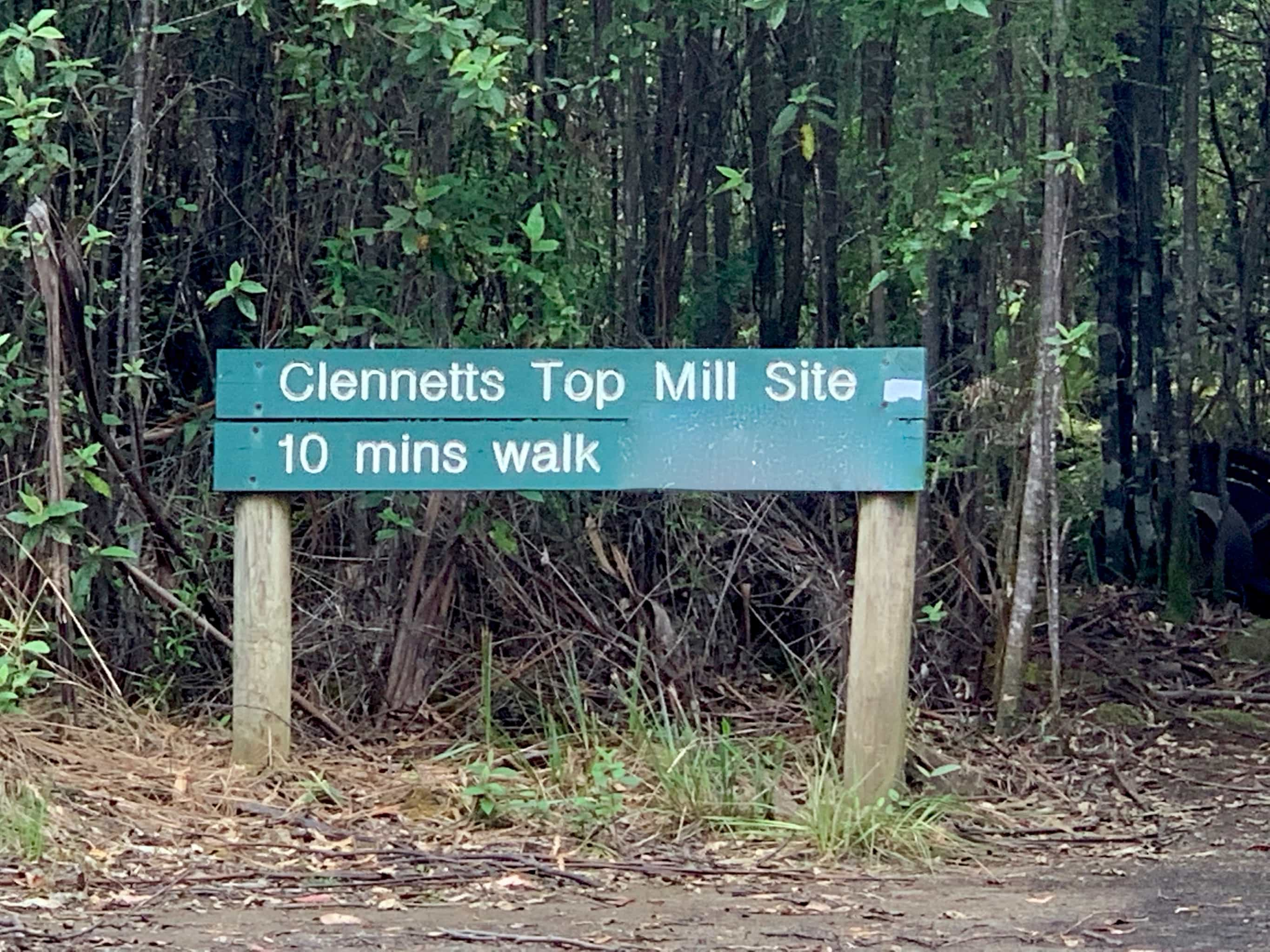 Sign to Clennetts mill site on South Bruny Island.