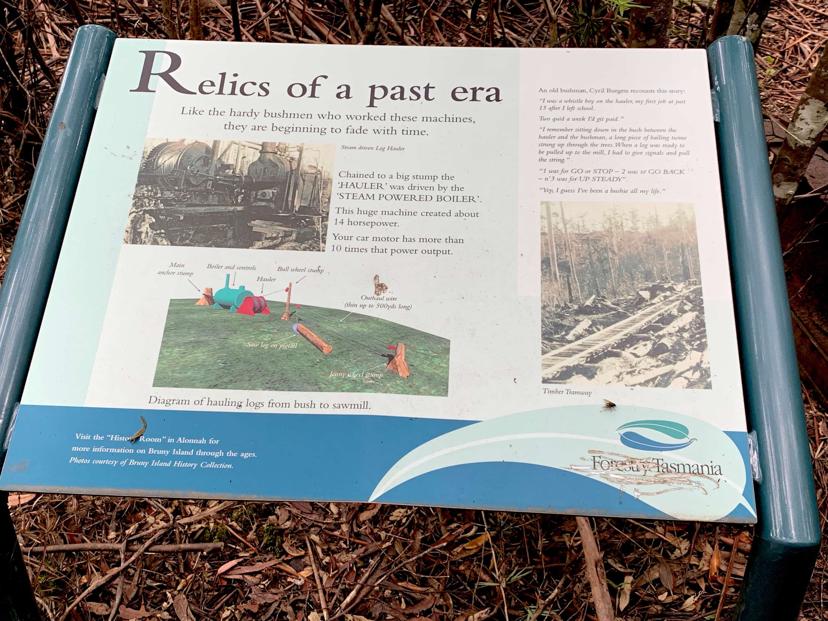 Sign with history of Clennetts mill site.