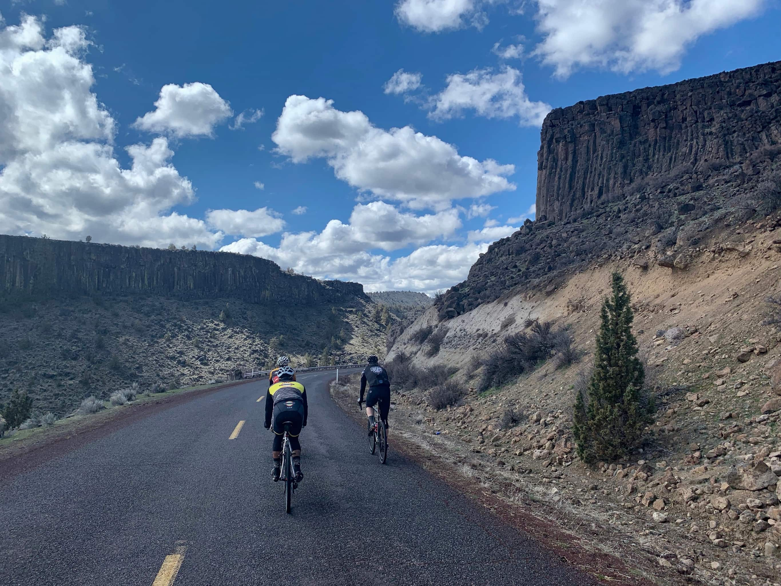 Cyclists on paved road with Mt. Jefferson in background.