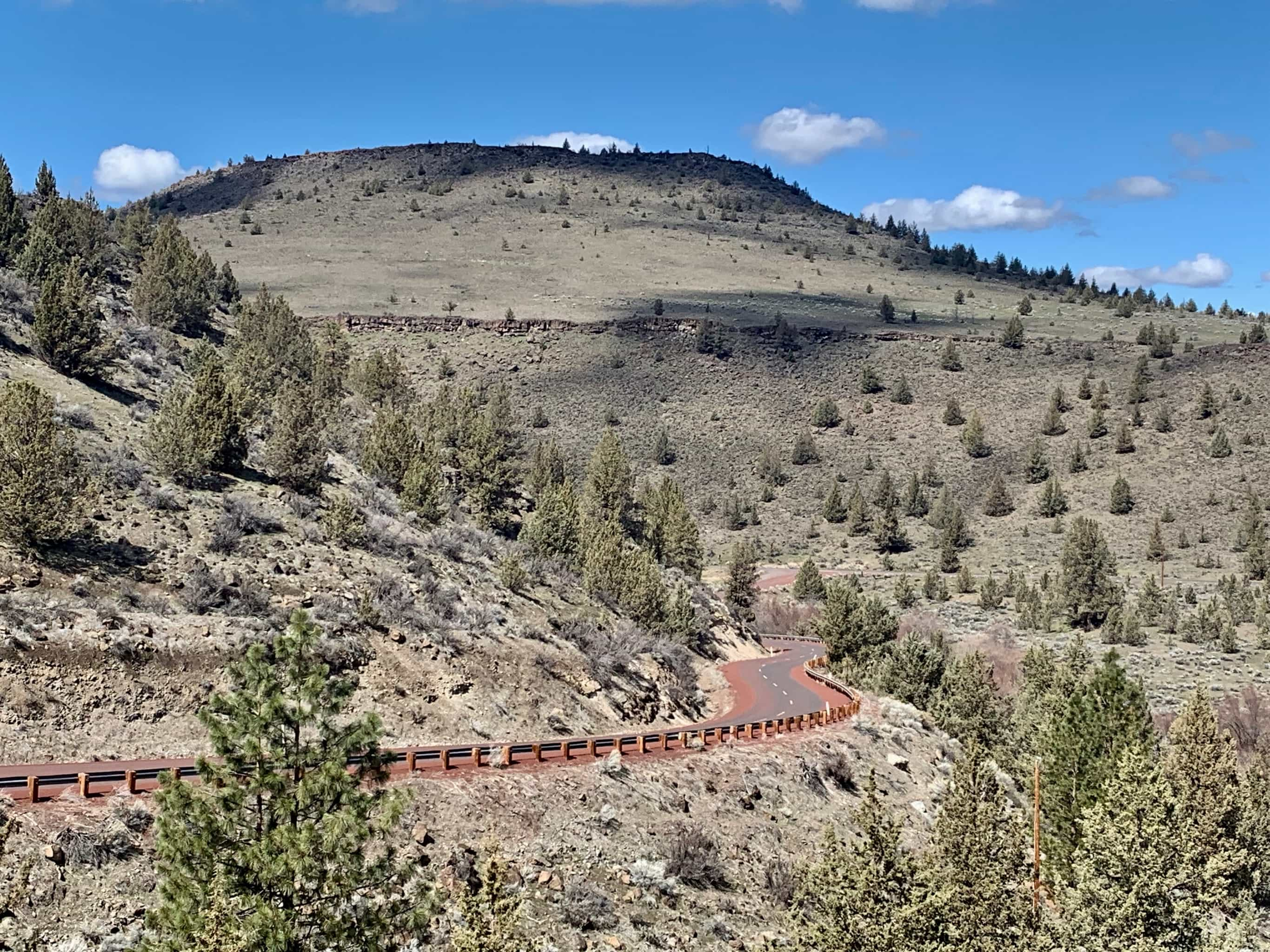 Winding road up hill on Warm Springs Indian reservation.