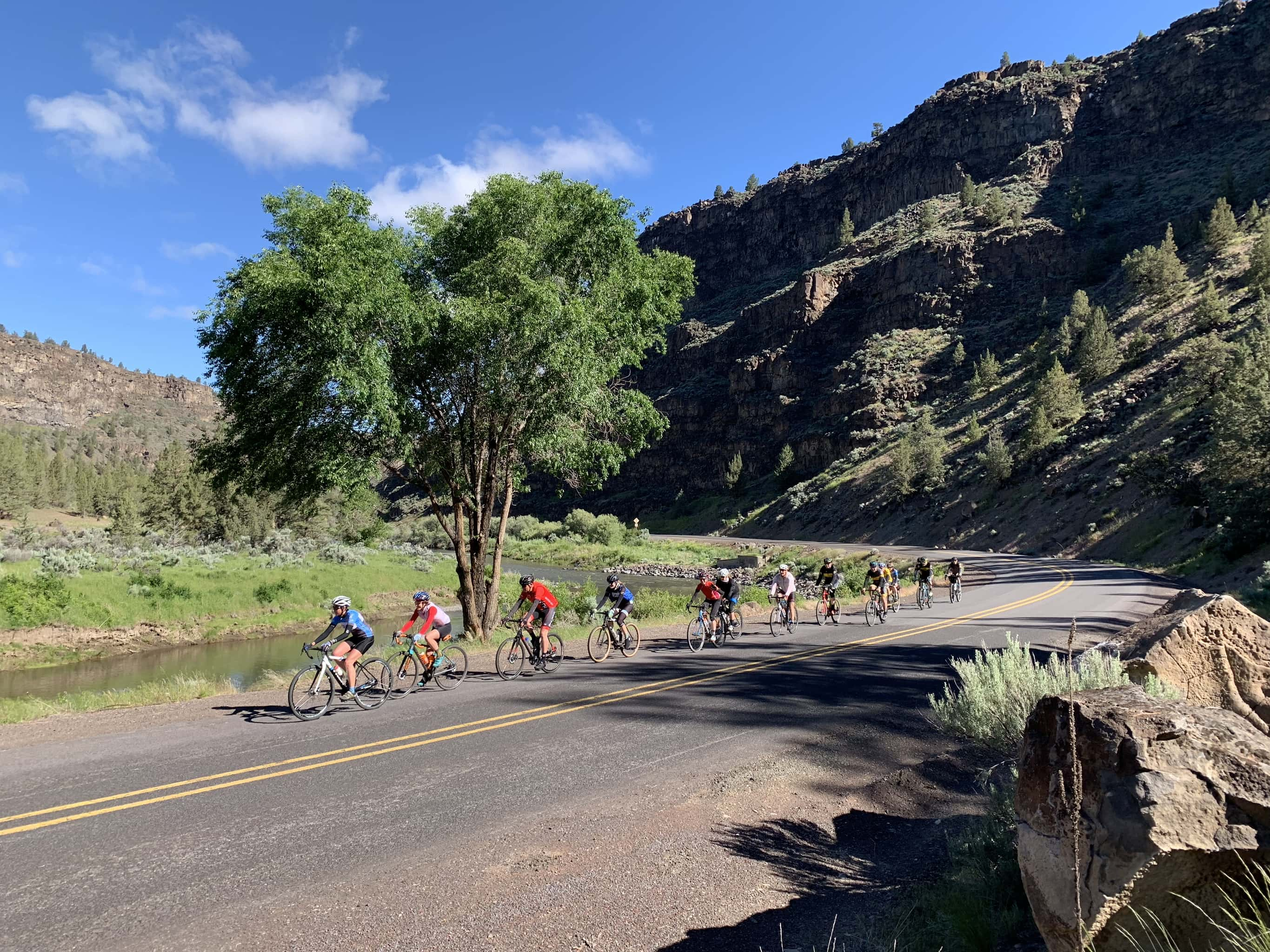 Group of cyclists on the road on the Crooked River Canyon.