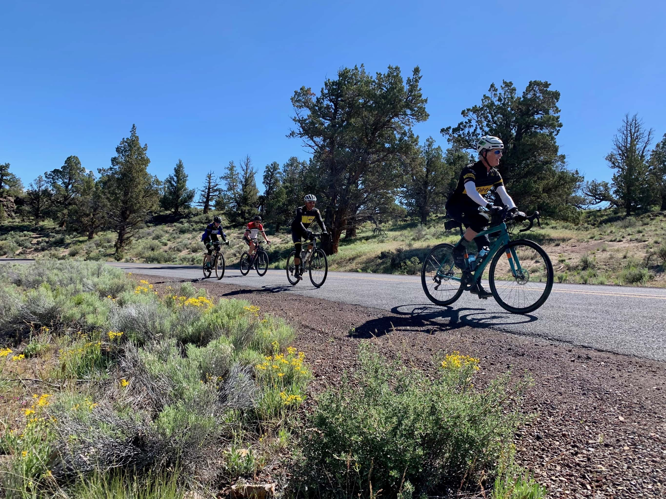 Road cyclist on the summit of the Crooked River grade.