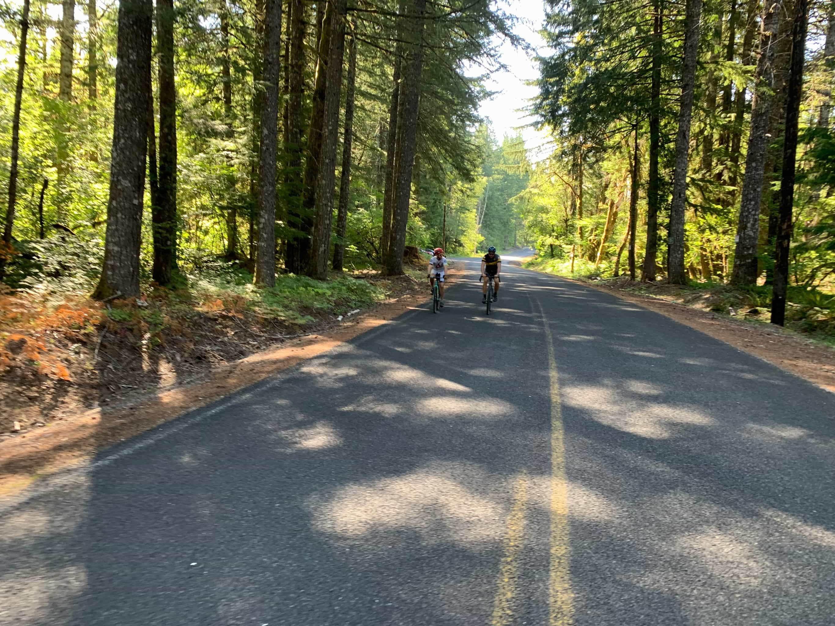 Cyclist on Little Soda Springs road, paved, near Carson, WA.