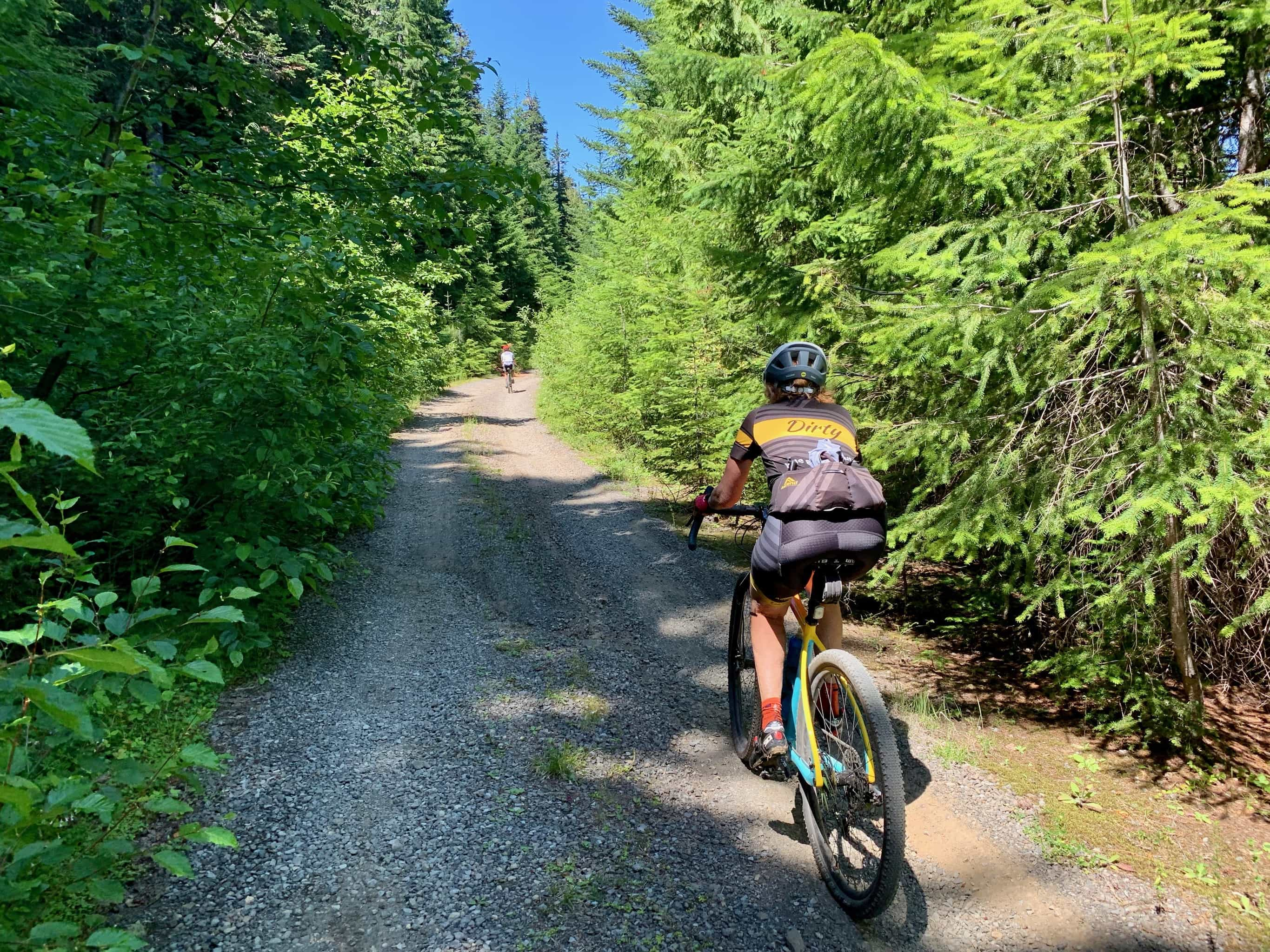 Gravel cyclist on the more primitive NF-58 in Gifford Pinchot National forest in Washington State.