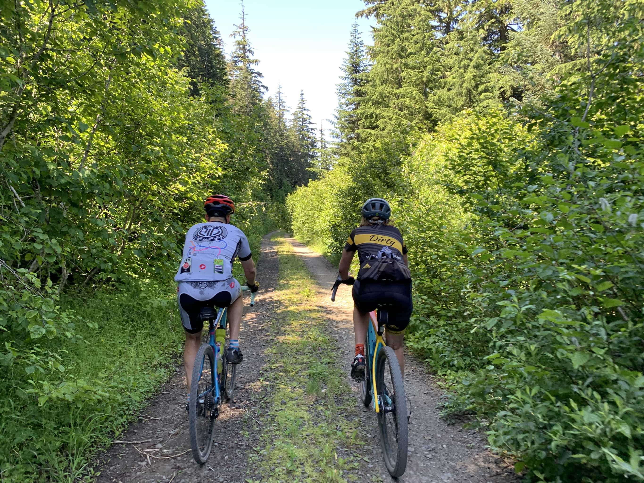 Gravel cyclist on near Bare Mountain and Observation Peak in Gifford Pinchot National forest.