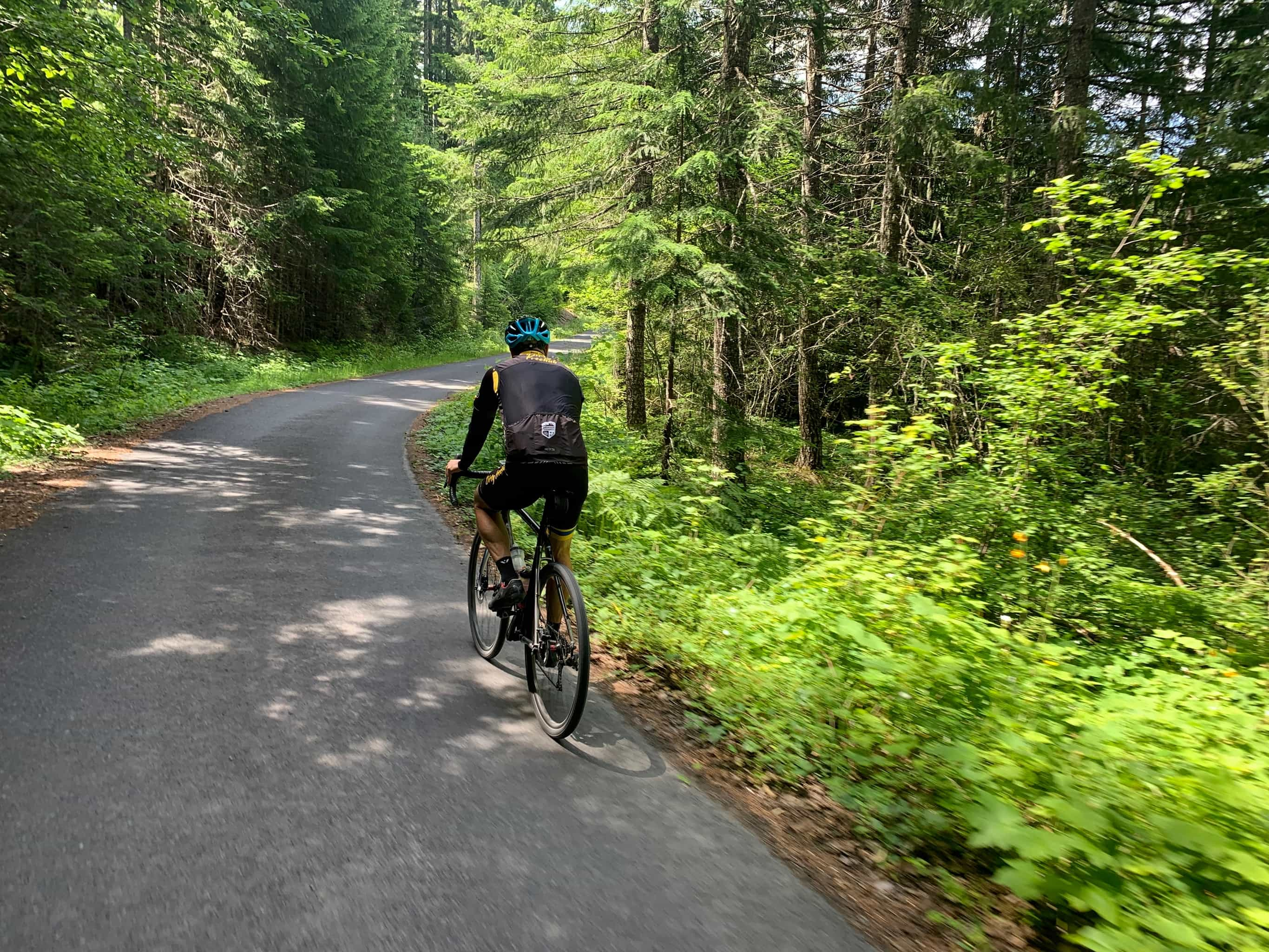 Cyclist on Carson Guler road, paved, near Carson, Washington in the Columbia River Gorge area.