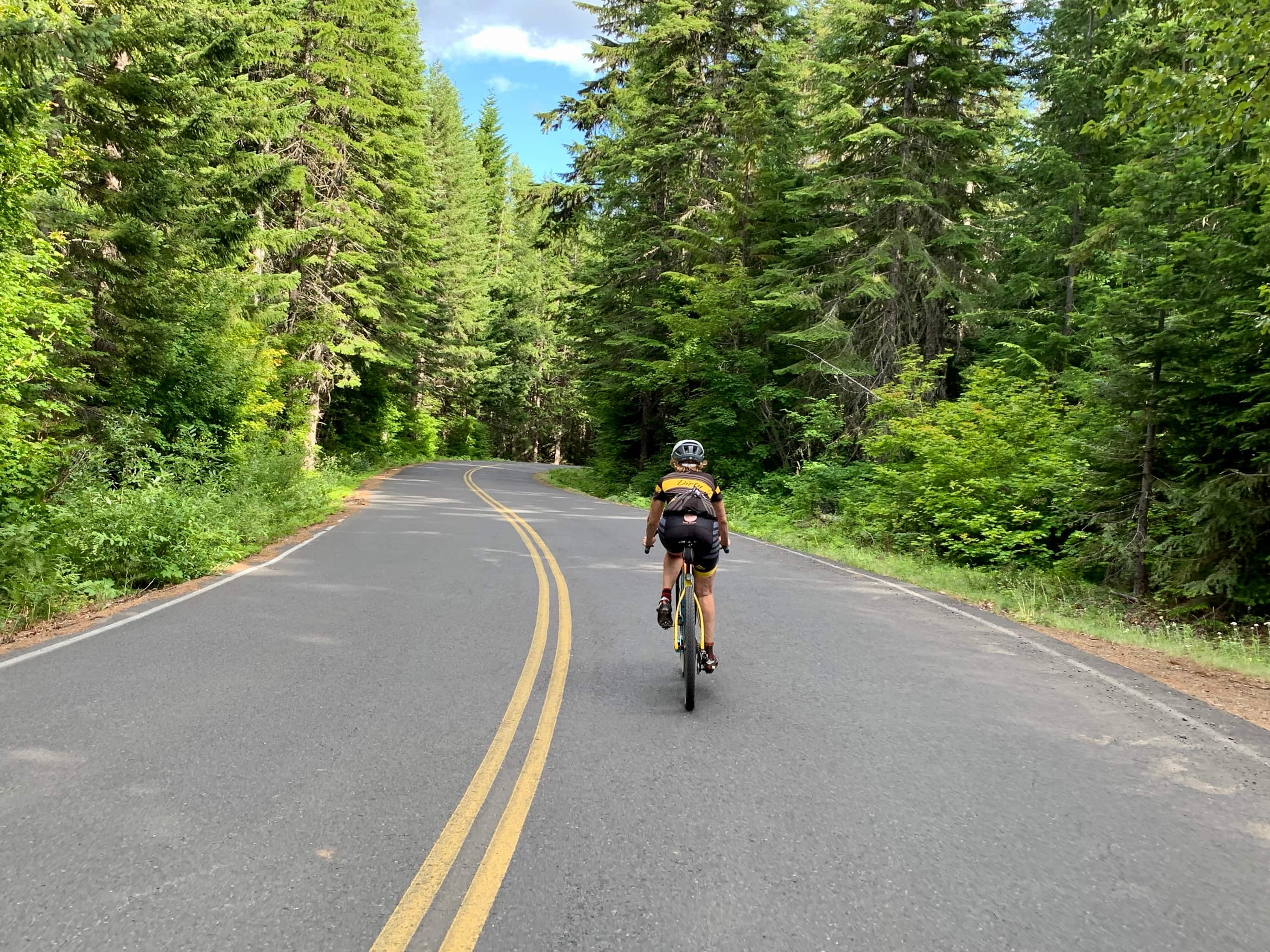Cyclist descending NF-23 in Gifford Pinchot National Forest near Trout Lake, WA.