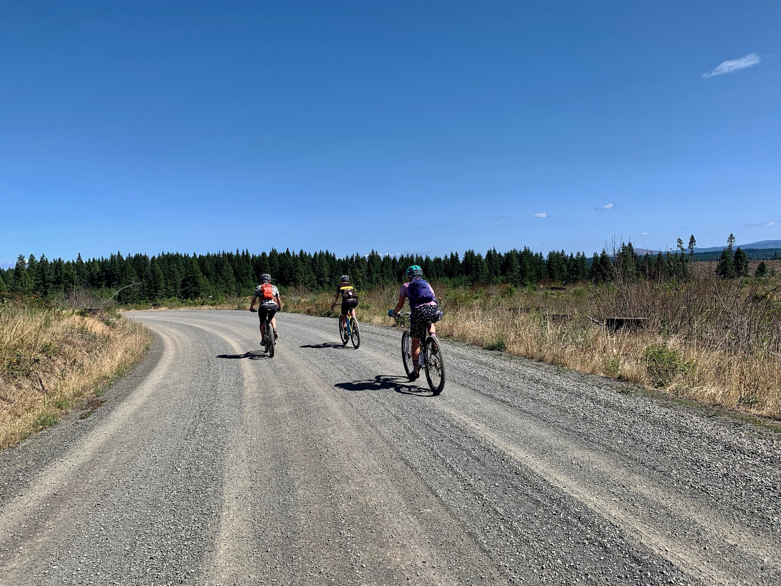 Gravel bike riders at the top of the Fisher Hill climb near Lyle, Washington.