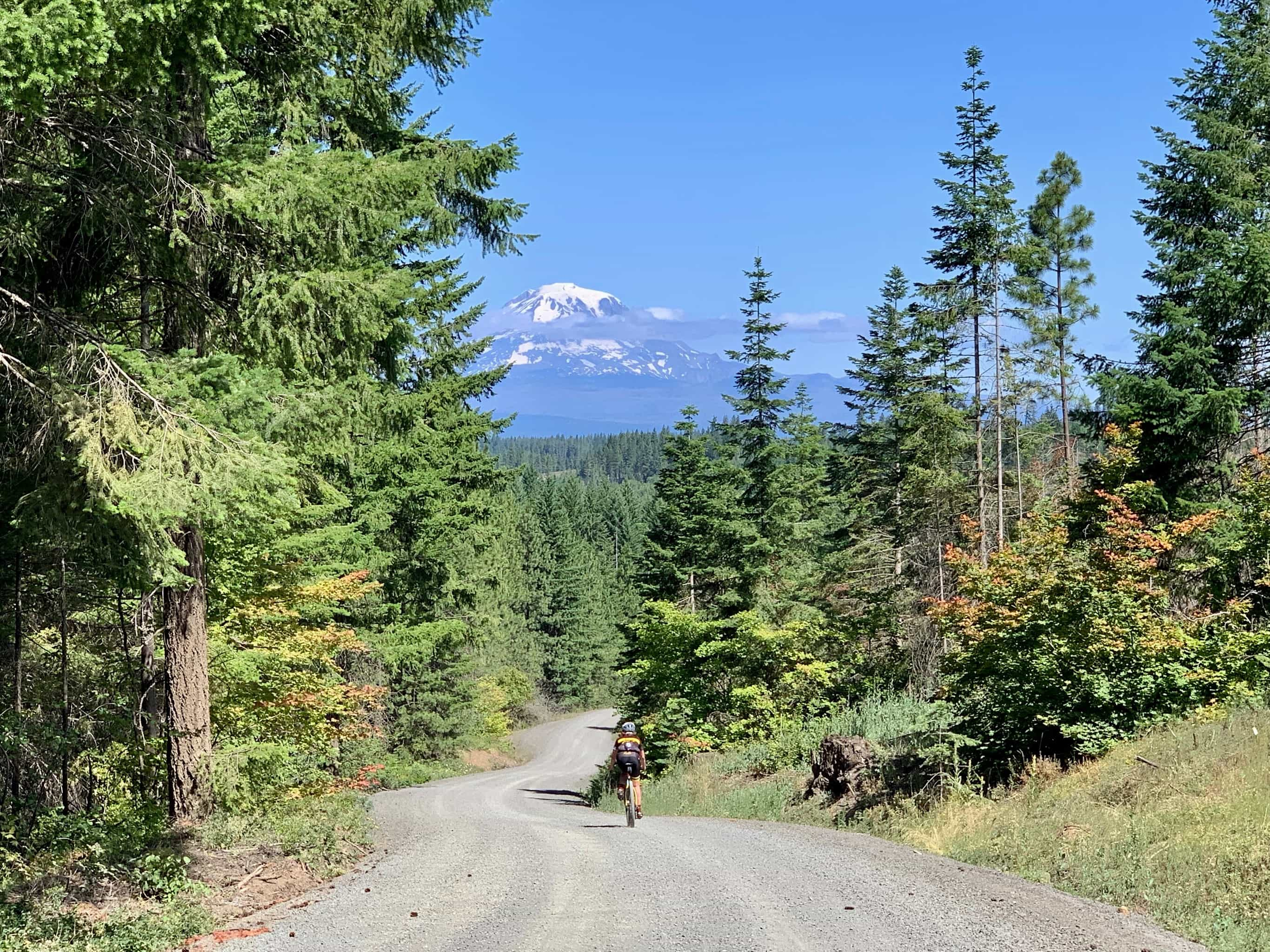 Cyclist on gravel road north of Lyle, Washington with view of Mt Adams.