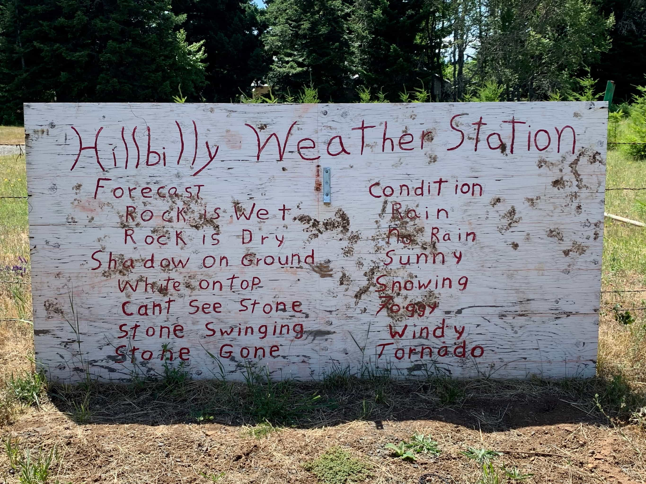 Hillbilly weather station with condition / forecast.
