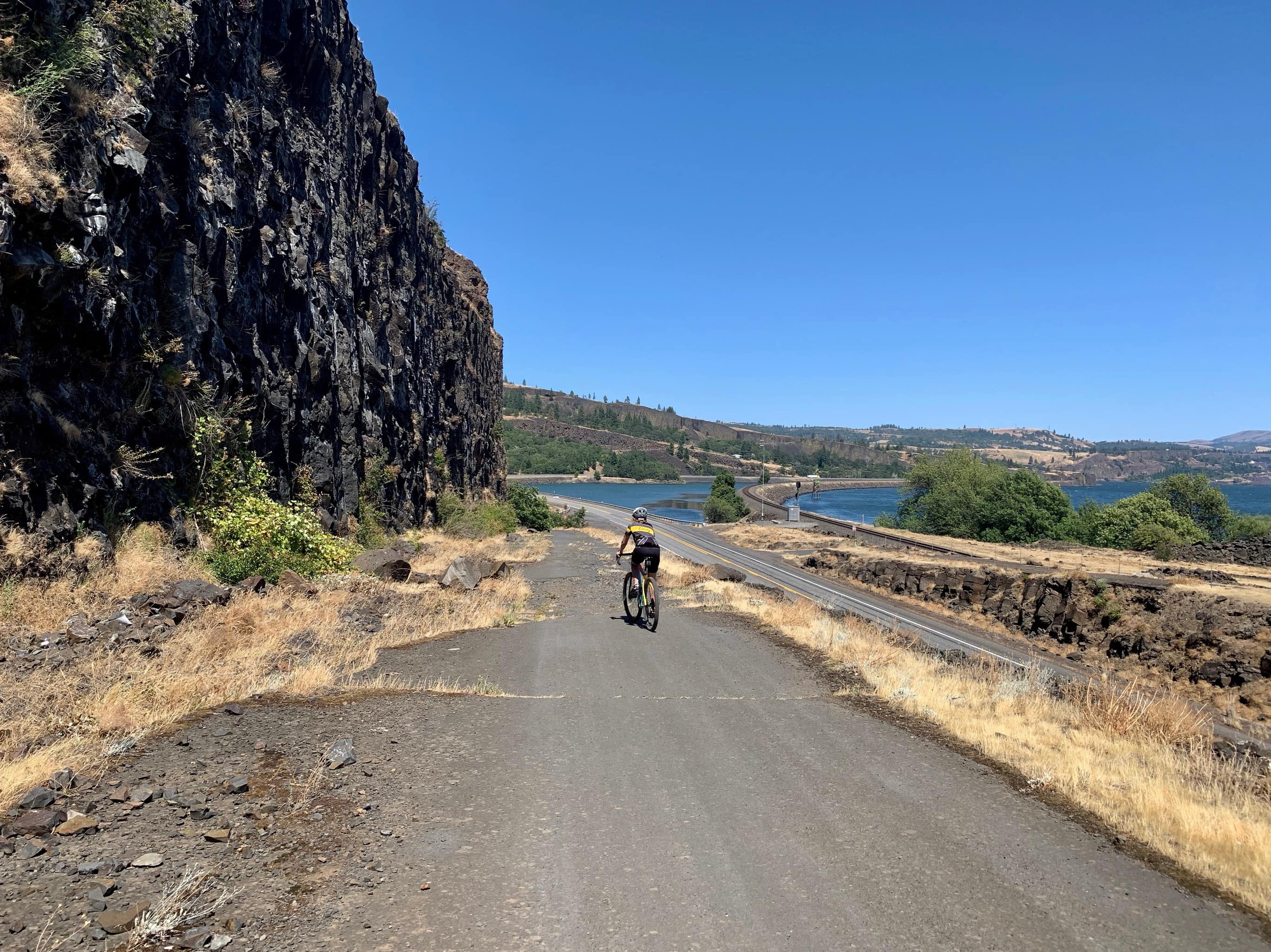 Broken sections of pavement on Old Highway 8 trail on the Washington side of the Columbia River.