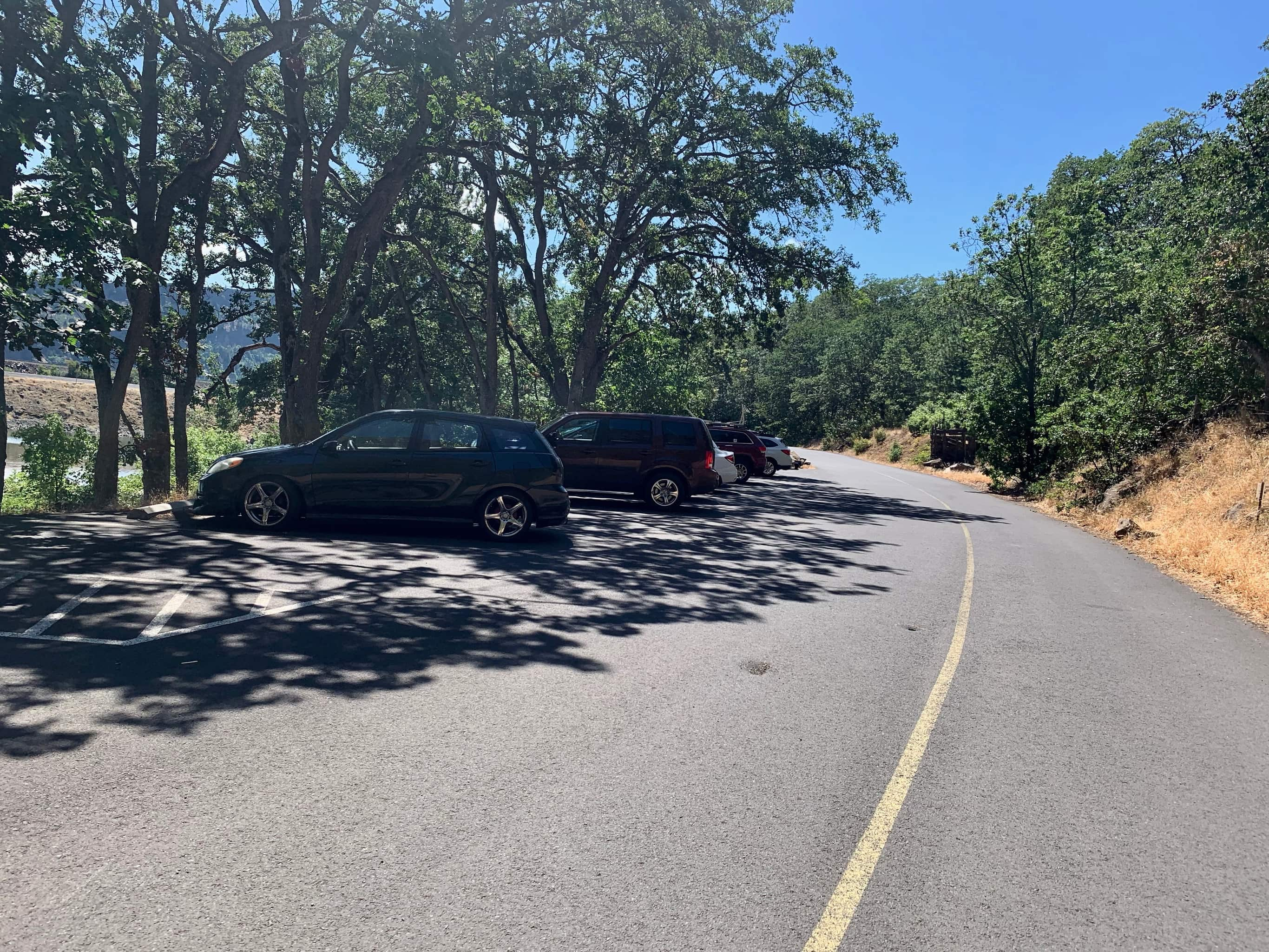 The parking lot at Coyote Wall at the intersection of Highway 14 and Courtney road.