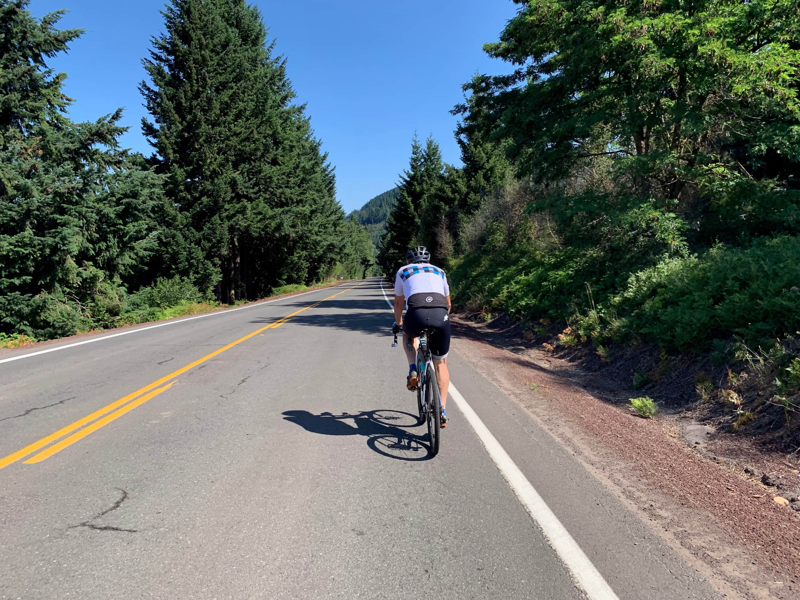Cyclist on the Dee Highway near Parkdale, Oregon.