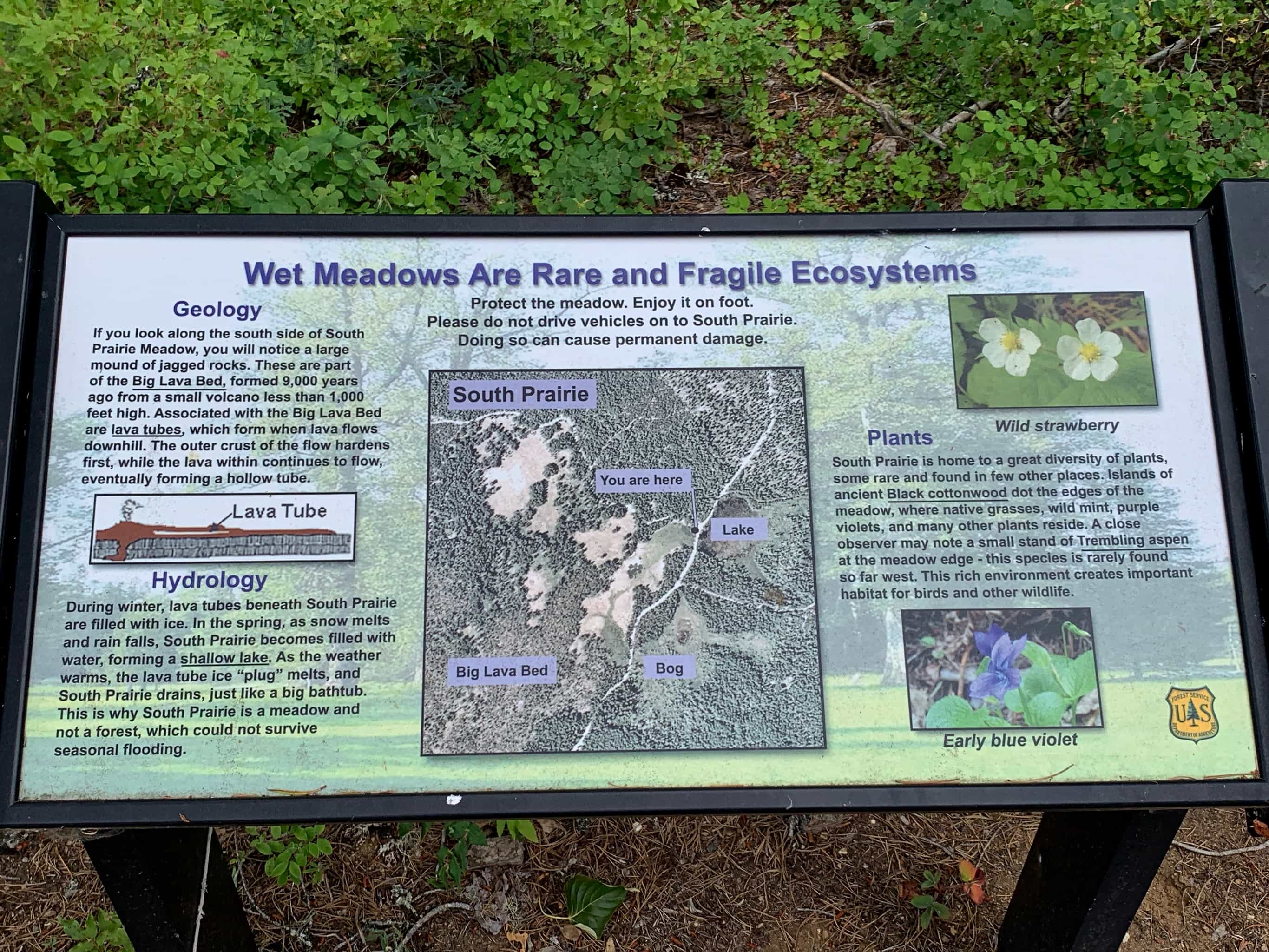 Information sign for South Prairie in Gifford Pinchot National Forest.