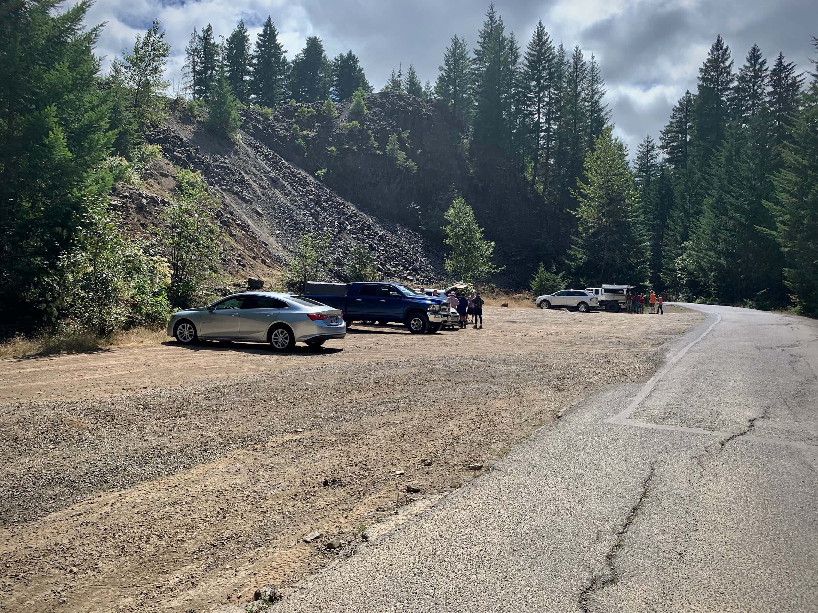 The gravel parking area for Panther Creek falls in Washington state.