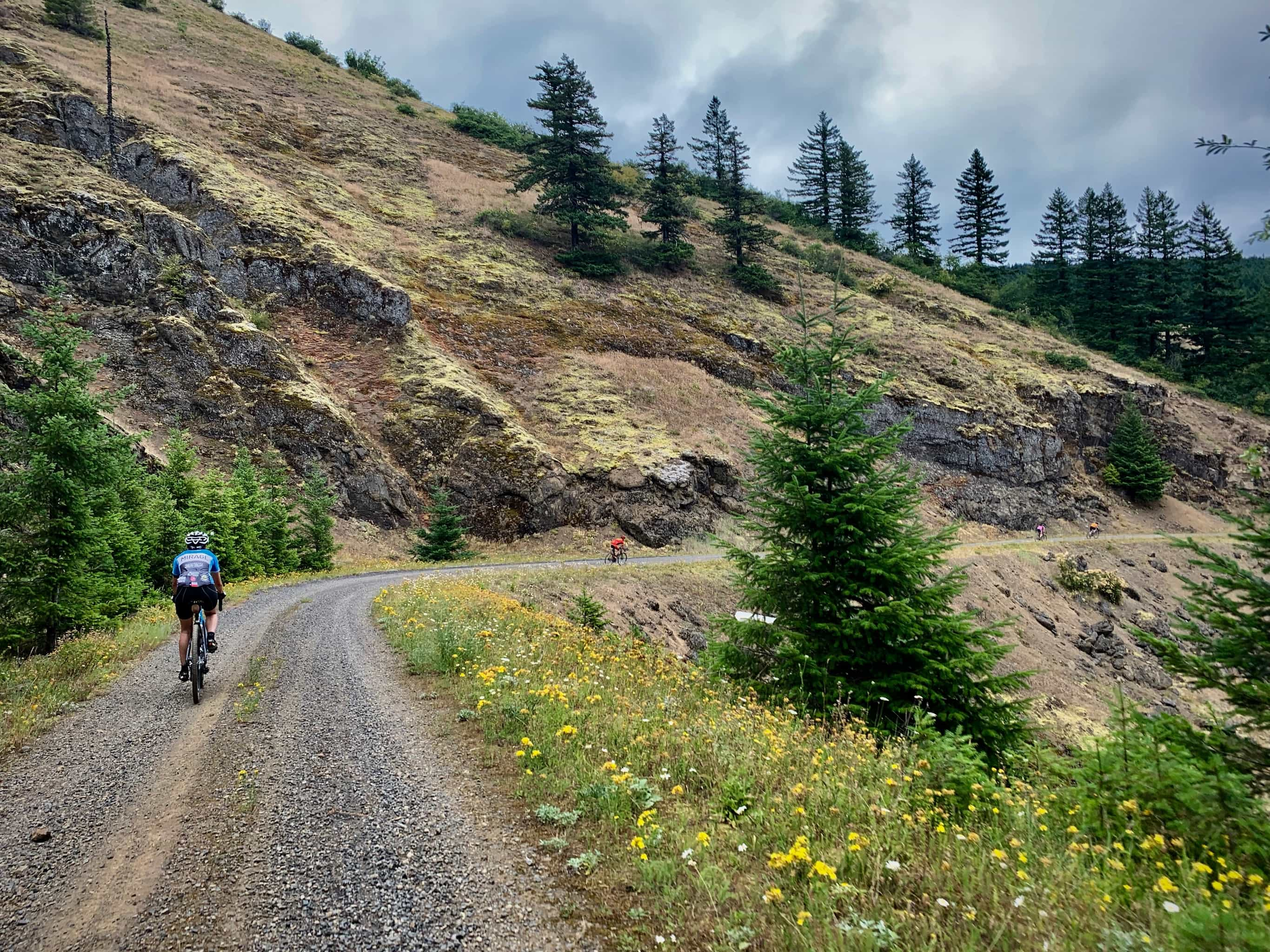 Cyclists descending gravel road NF-68 near the Big Lava Bed.