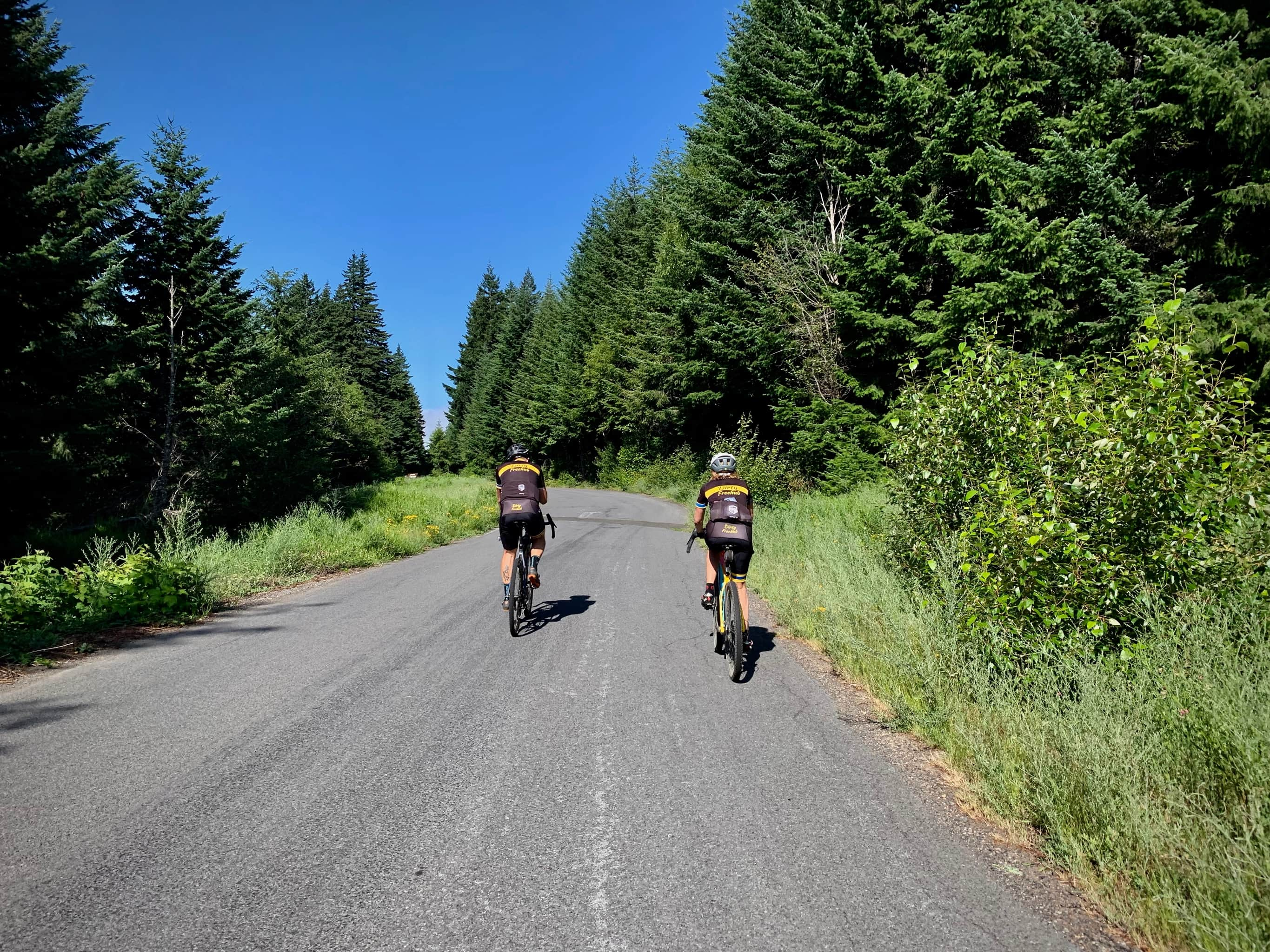 Two cyclists on paved road, Laurance Lake road near Hood River, Oregon.