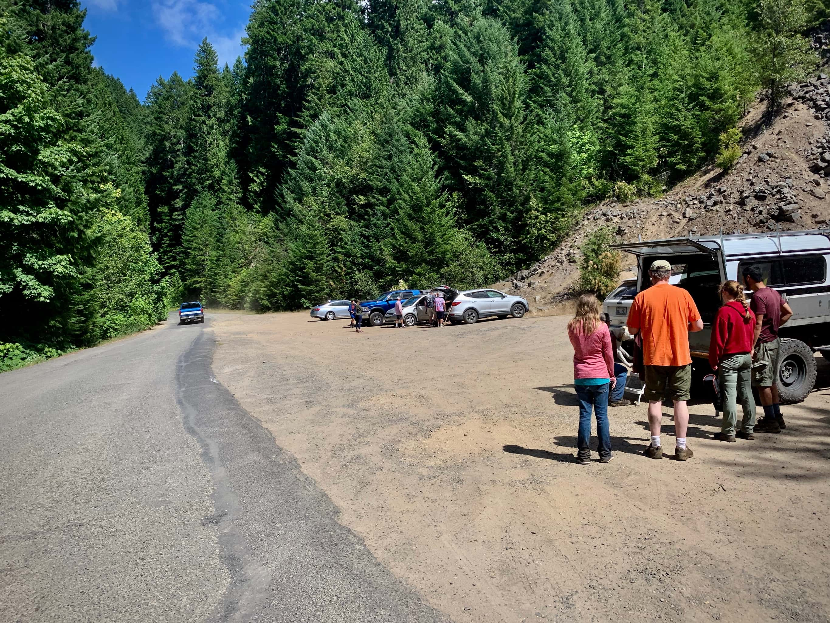 The parking area for Panther Creek falls near Carson, Washington.