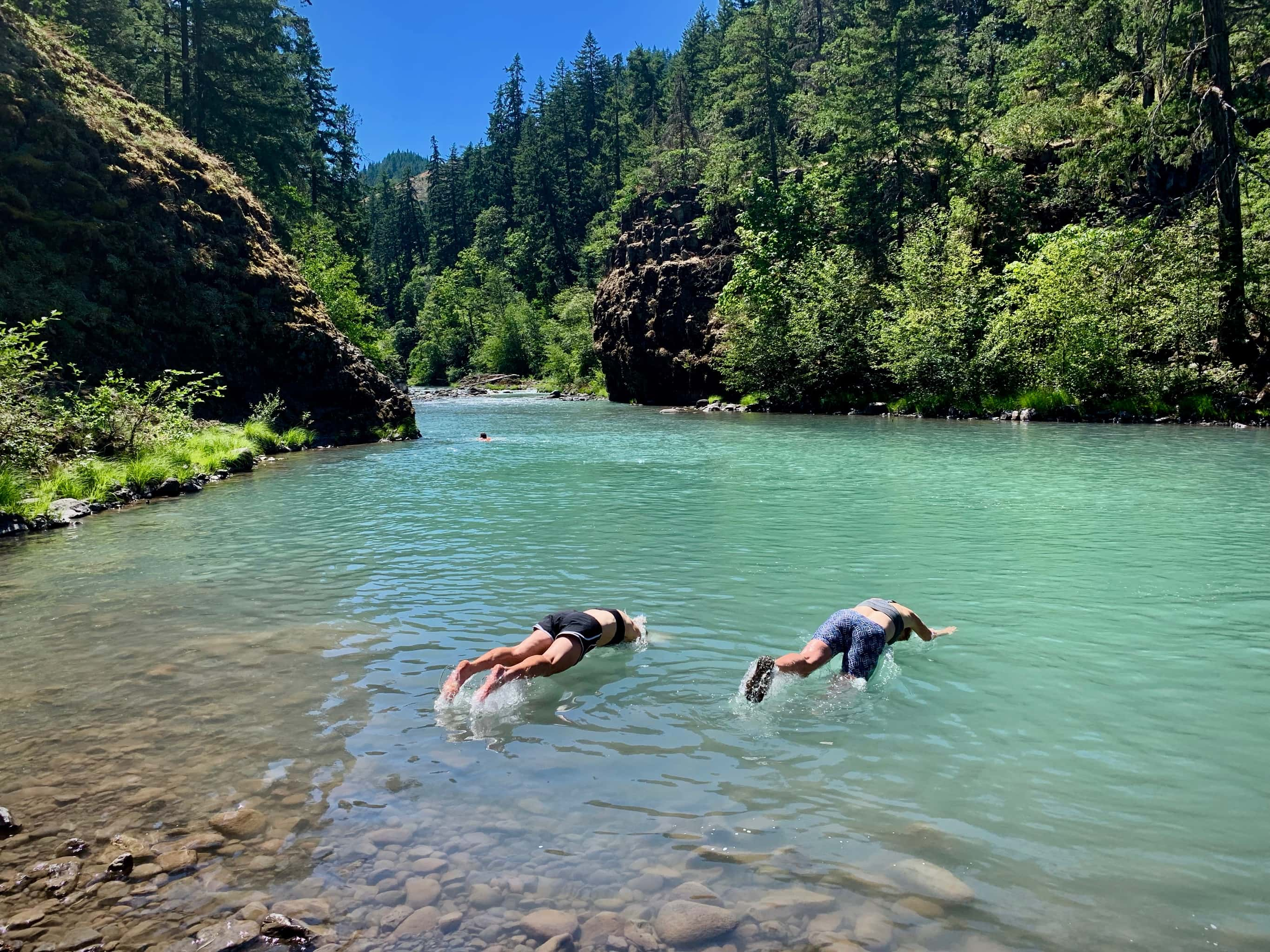 Swimming near Punchbowl falls in the Hood River area.