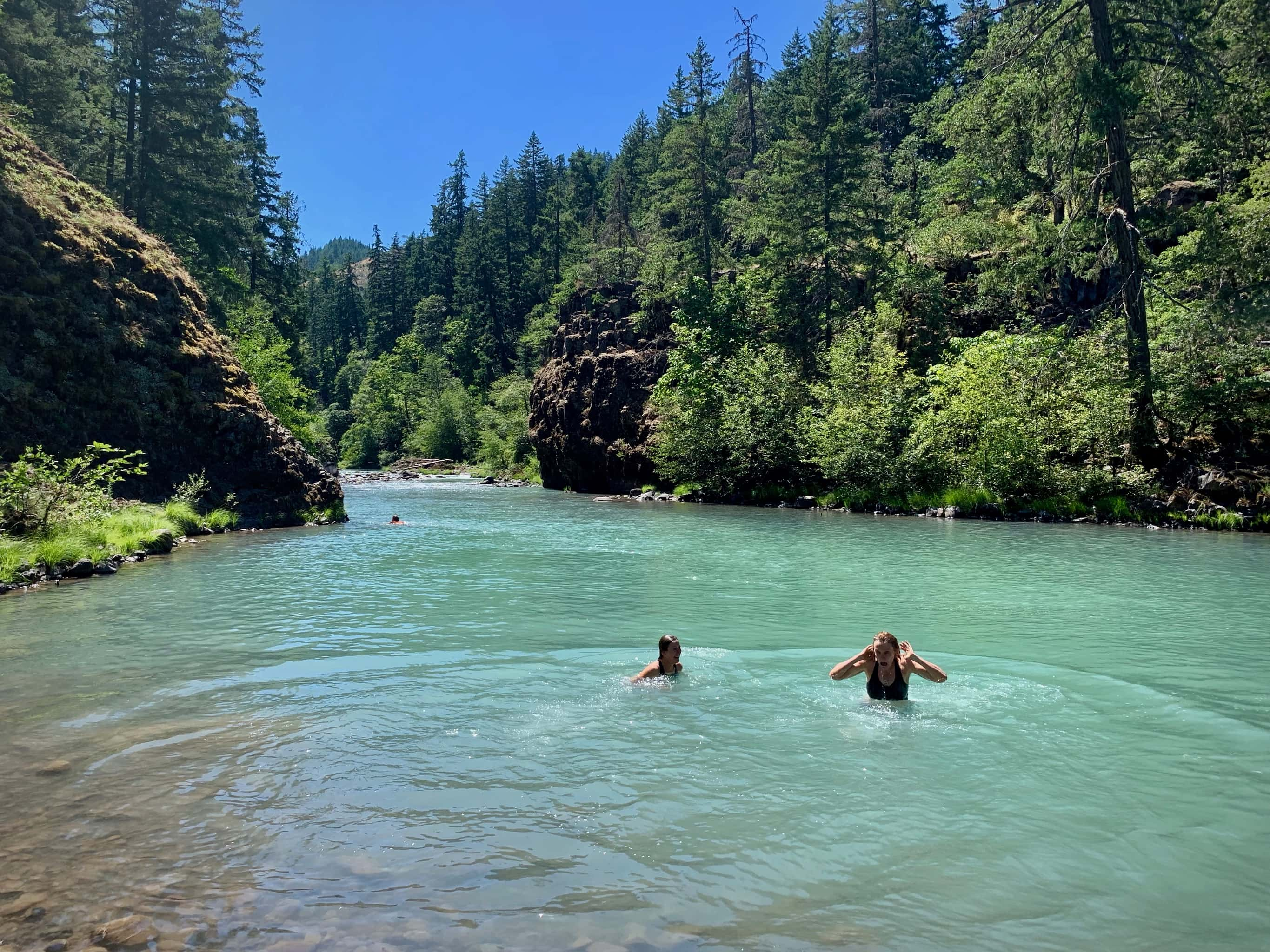 Swimming near Punchbowl falls at the confluence of the west fork and east fork of Hood River.