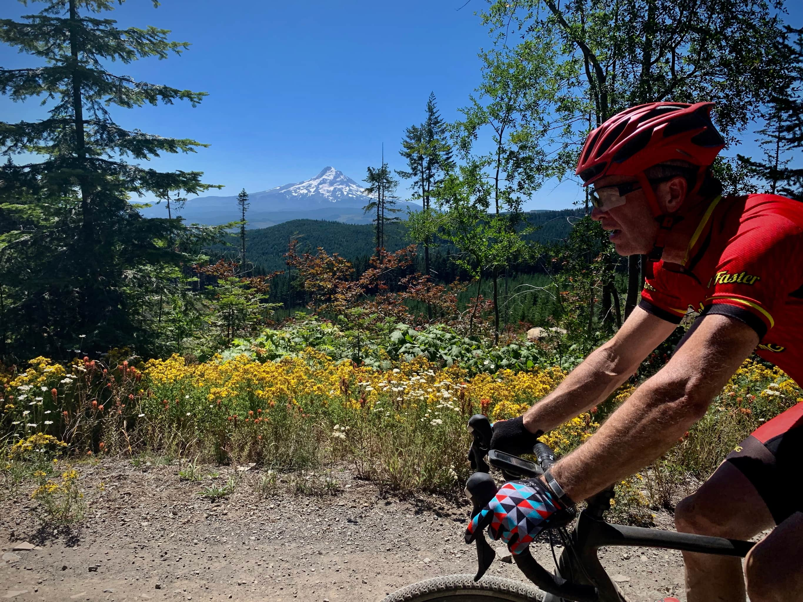 Gravel cyclist on Larch road with flowers and mountains in background in Hood River county.