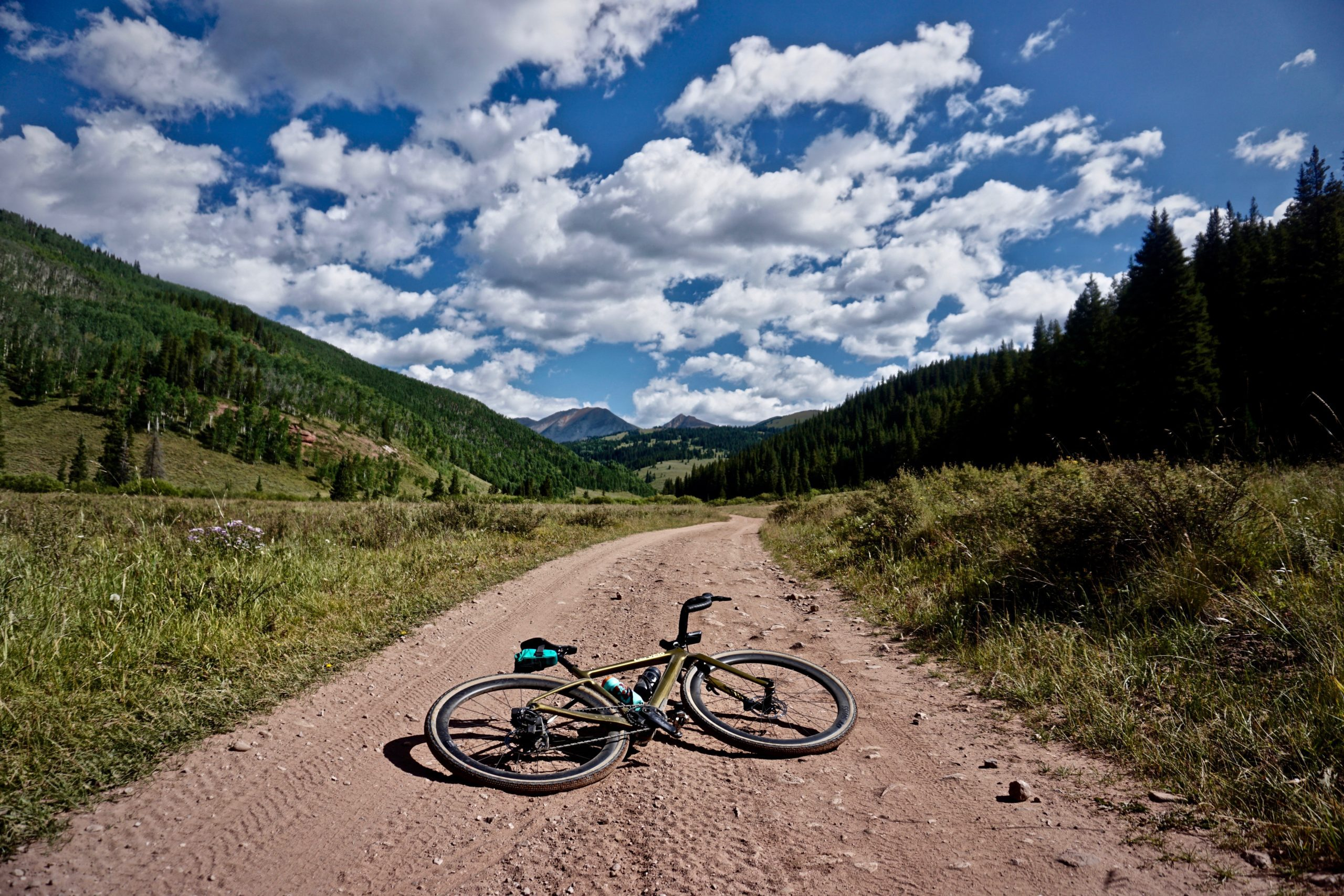 Gravel bike on dirt road near Crested Butte, Colorado.