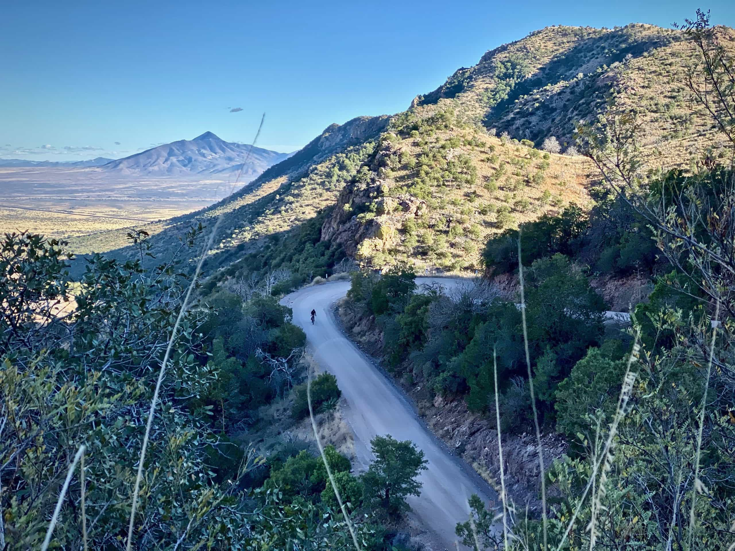 The gravel road descent on the east side of Montezuma Pass in the Coronado National Memorial.