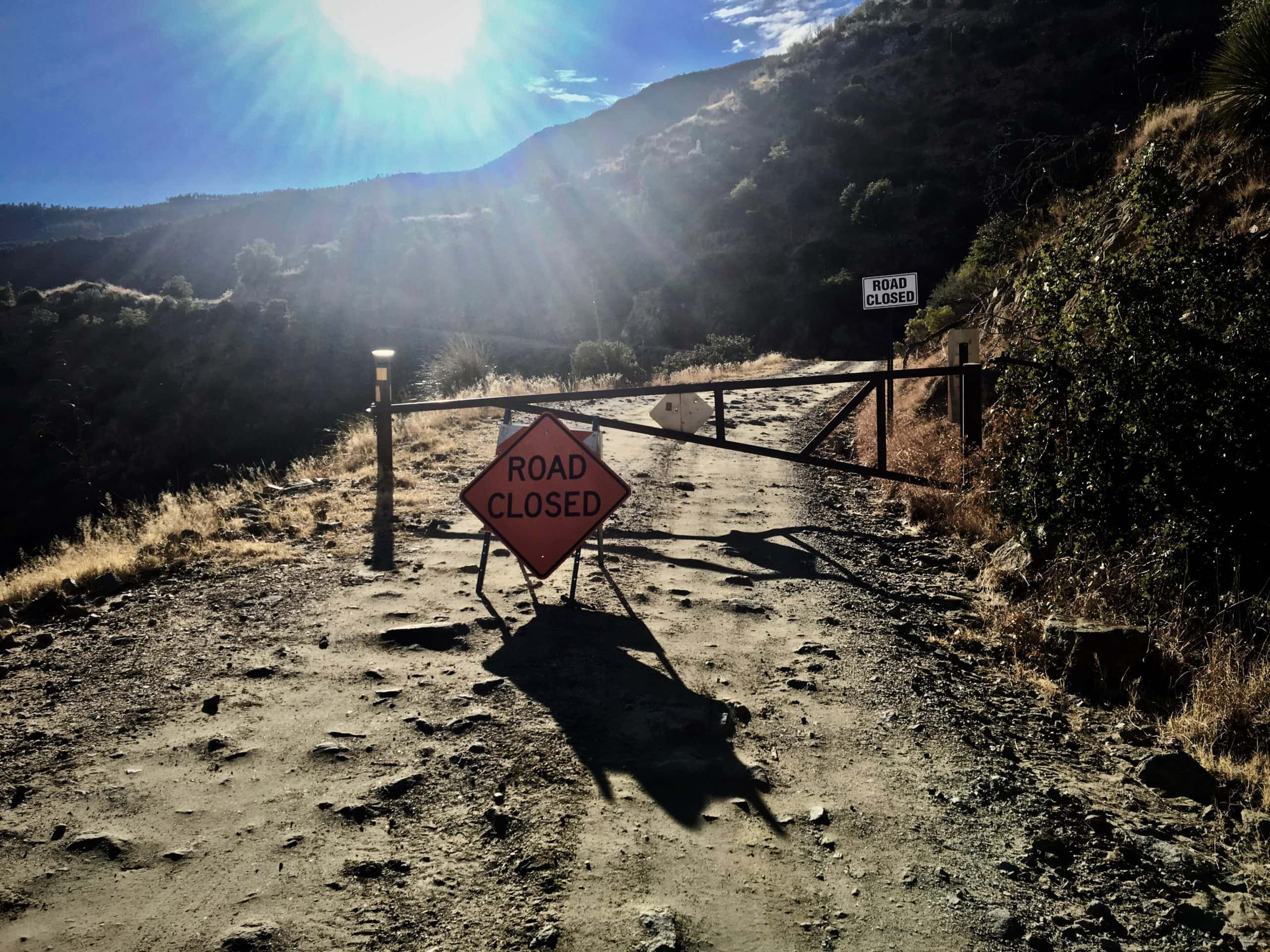 The gate to the Mt Lemmon Control Road.