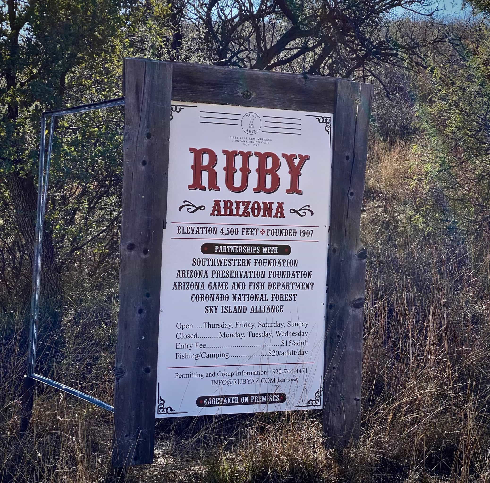 Welcome sign to the ghost town of Ruby in Ruby, Arizona.